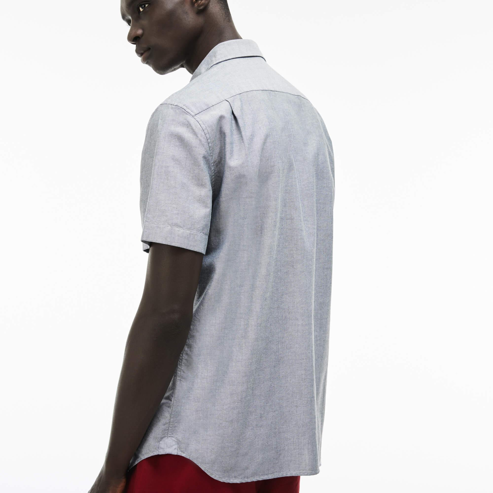 Lacoste Erkek Slim Fit Gri Kısa Kollu Gömlek