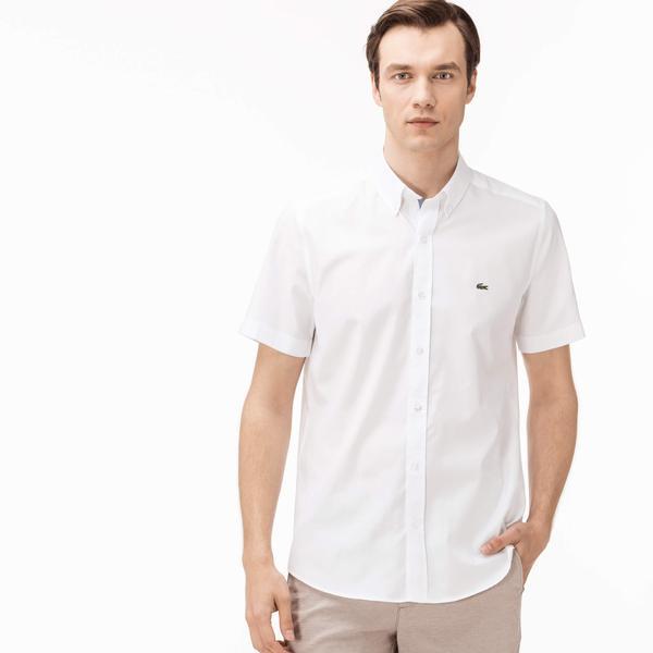 Lacoste Erkek Slim Fit Beyaz Kısa Kollu Gömlek