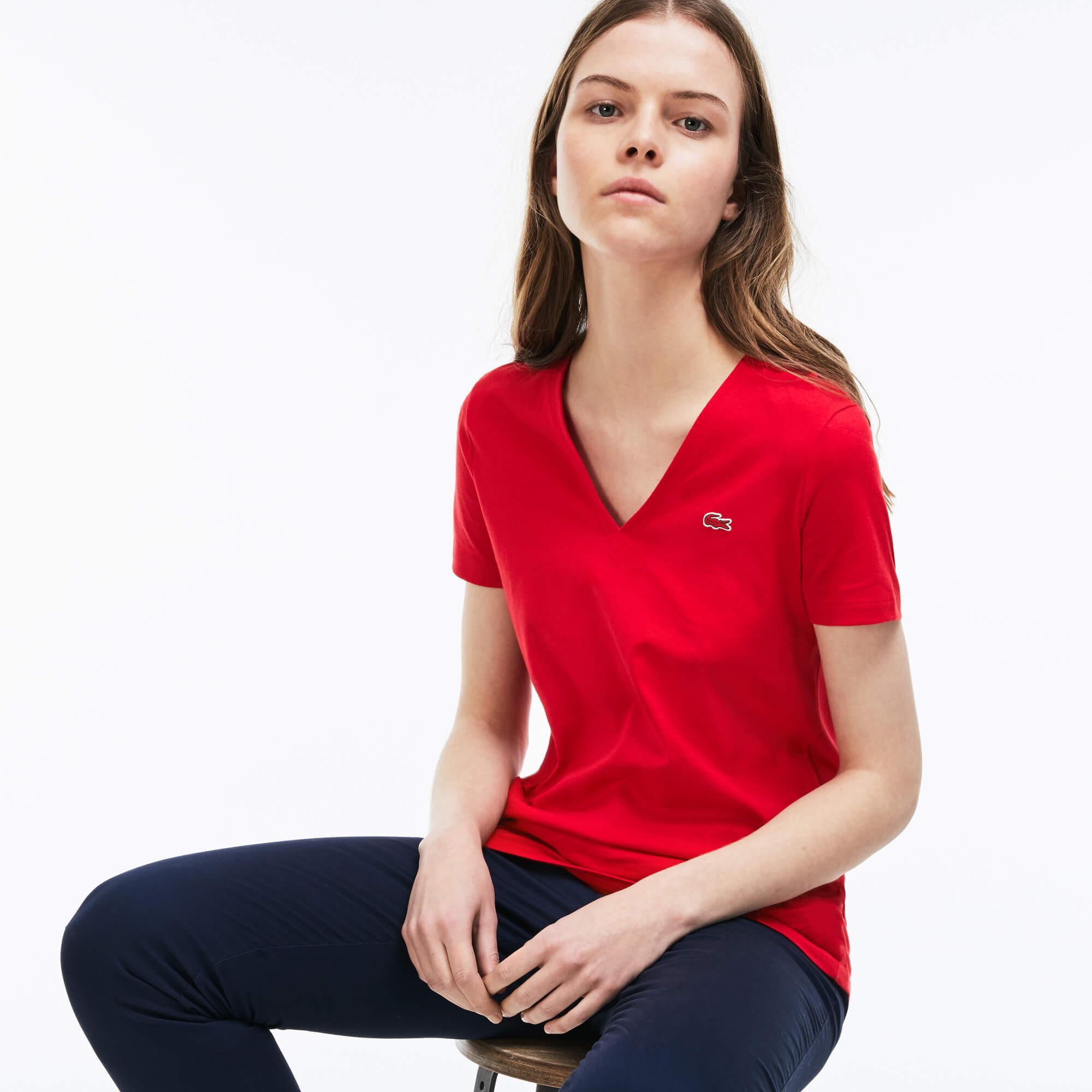 Lacoste Kadın V Yaka Kırmızı T-Shirt