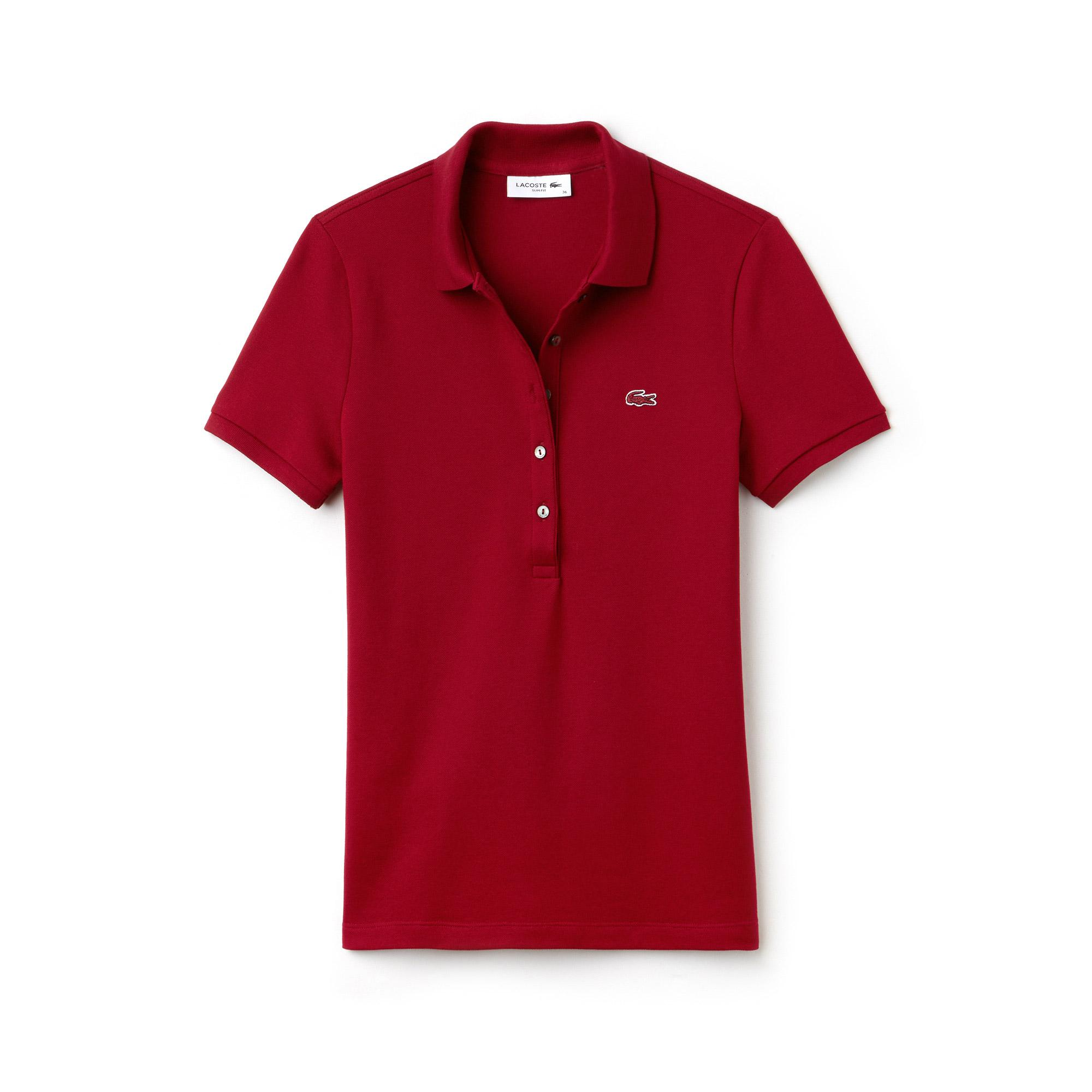 Lacoste Kadın Slim Fit Bordo Polo