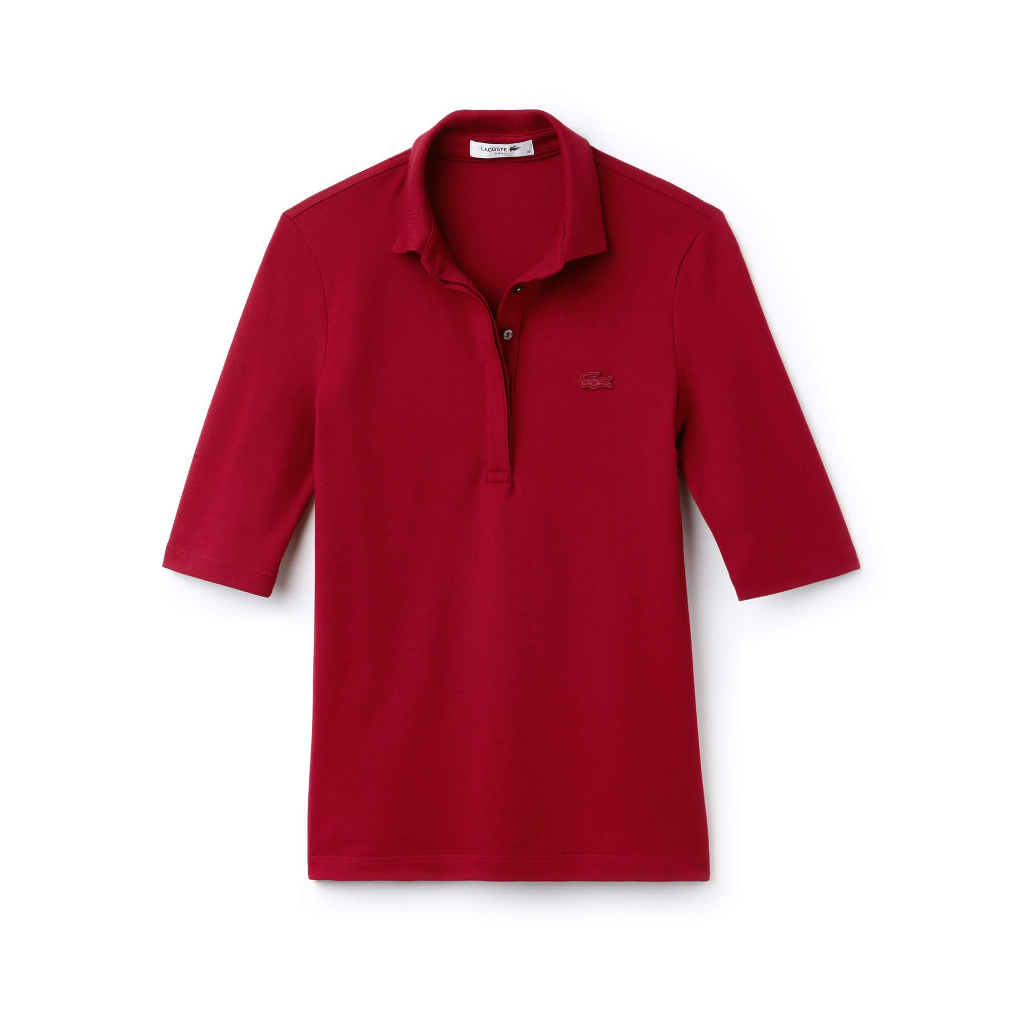 Lacoste Kadın Slim Fit Truvakar Kollu Bordo Polo