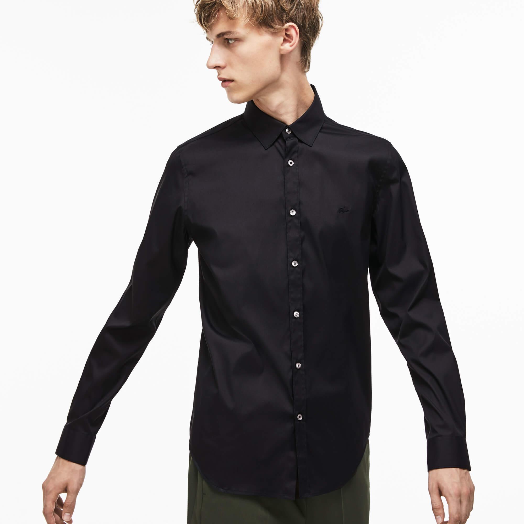Lacoste Erkek Slim Fit Uzun Kollu Siyah Gömlek