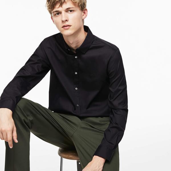 Lacoste Erkek Slim Fit Siyah Kısa Kollu Gömlek