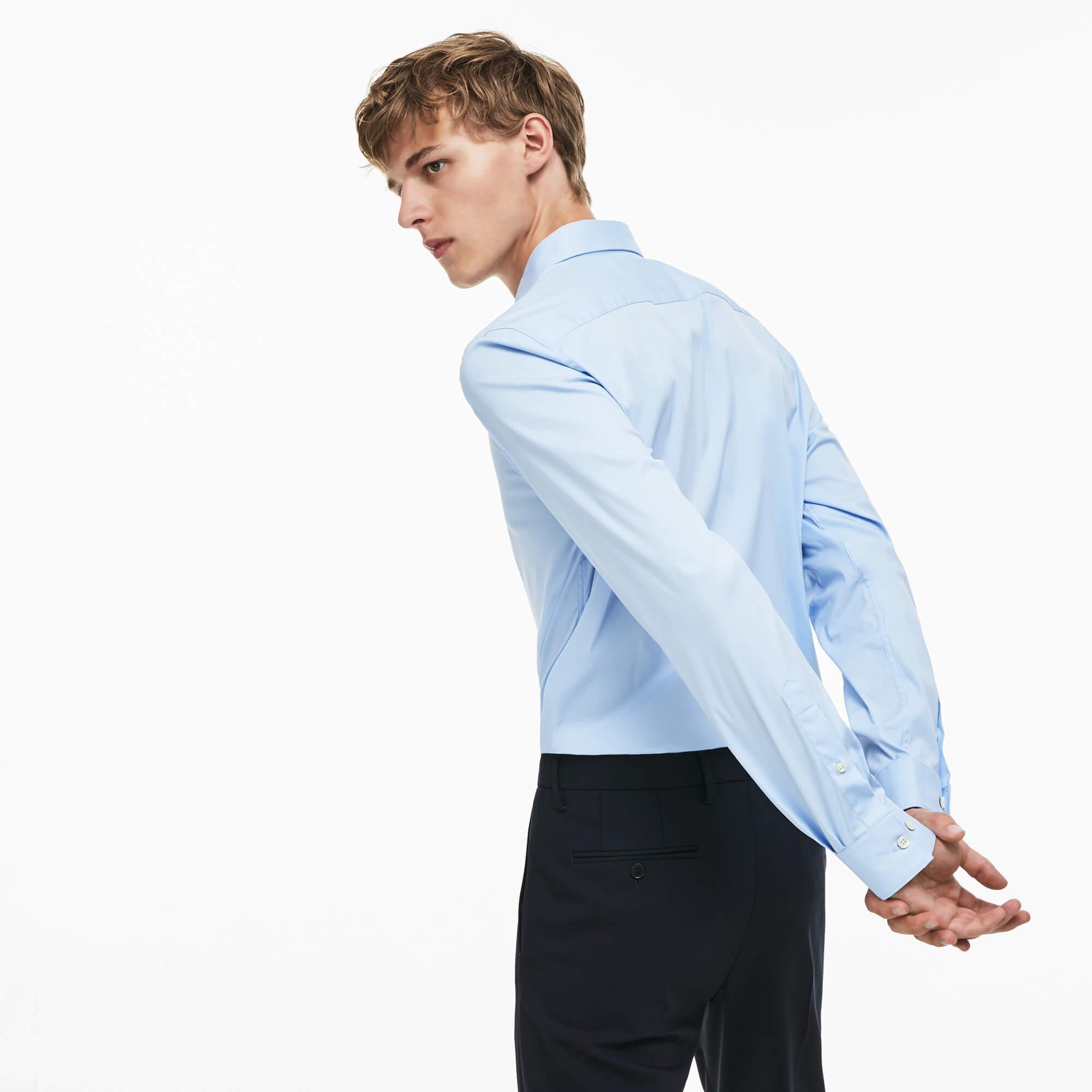 Lacoste Erkek Slim Fit Streç Poplin Pamuklu Uzun Kollu Mavi Gömlek
