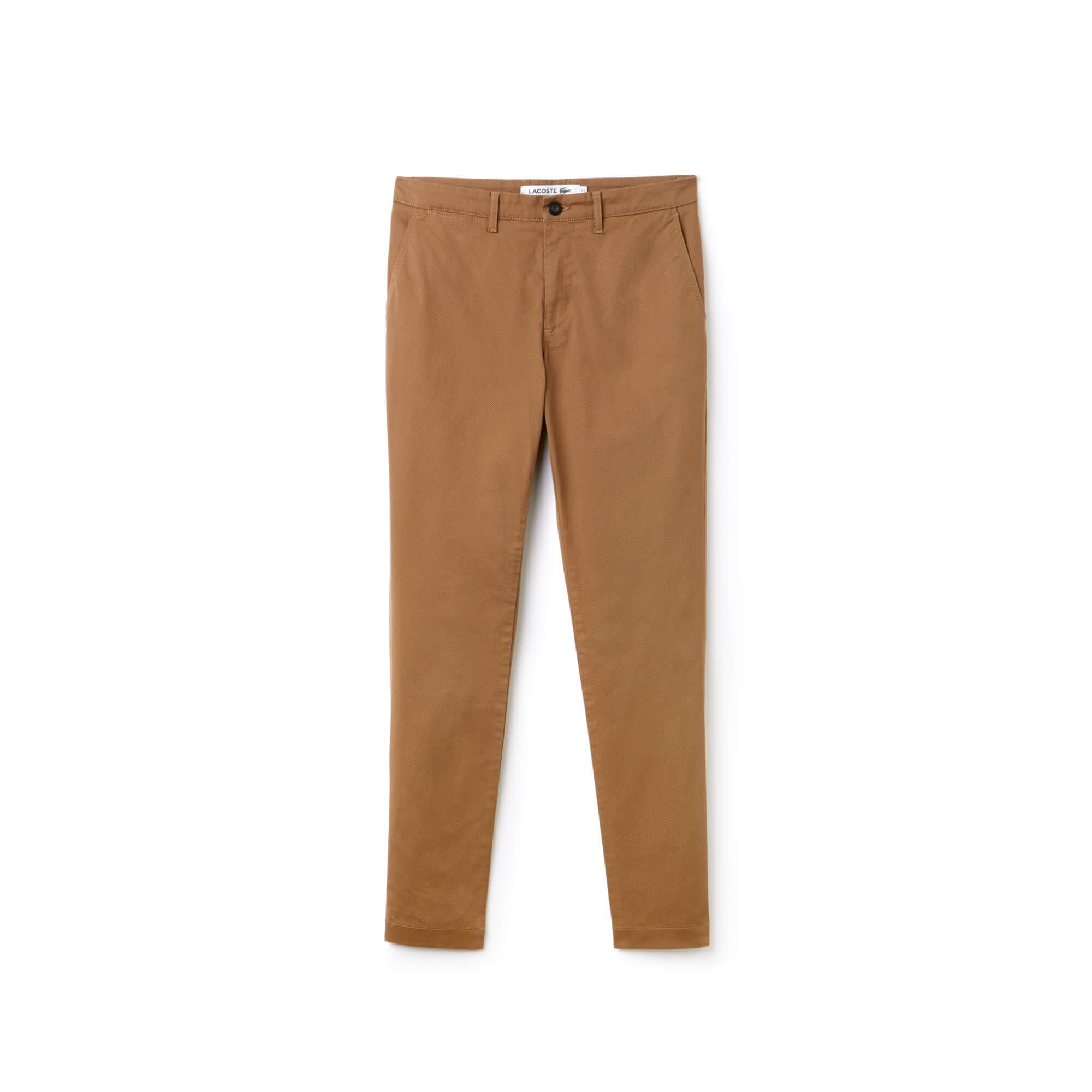 Lacoste Erkek Slim Fit Streç Pamuklu Taba Chino Pantolon