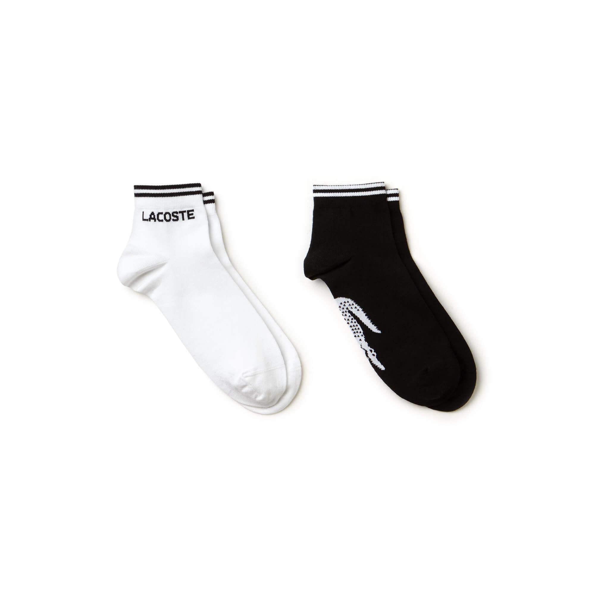 Lacoste Unisex Sport Siyah-Beyaz 2'li Çorap