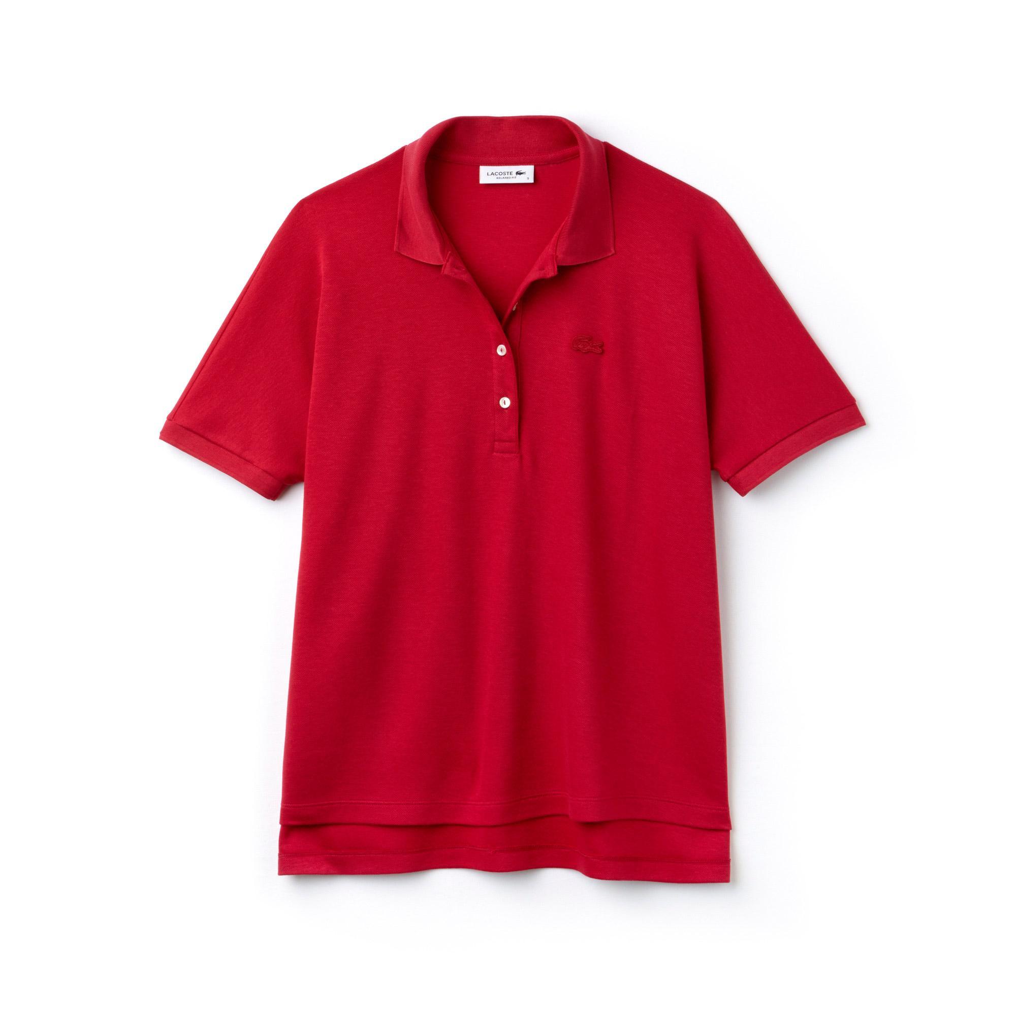 Lacoste Kadın Kırmızı Kısa Kollu Rahat Kesim Polo