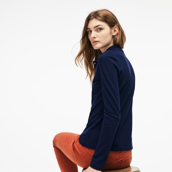 Lacoste Kadın Slim Fit Uzun Kollu Lacivert Polo