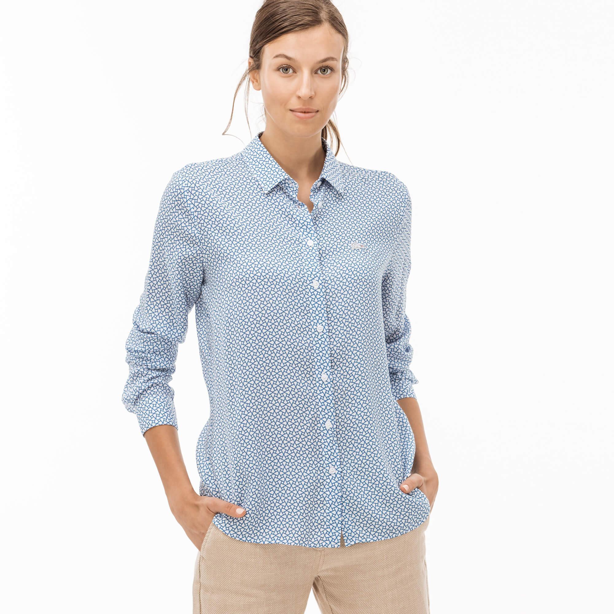 Lacoste Kadın Desenli Mavi Gömlek