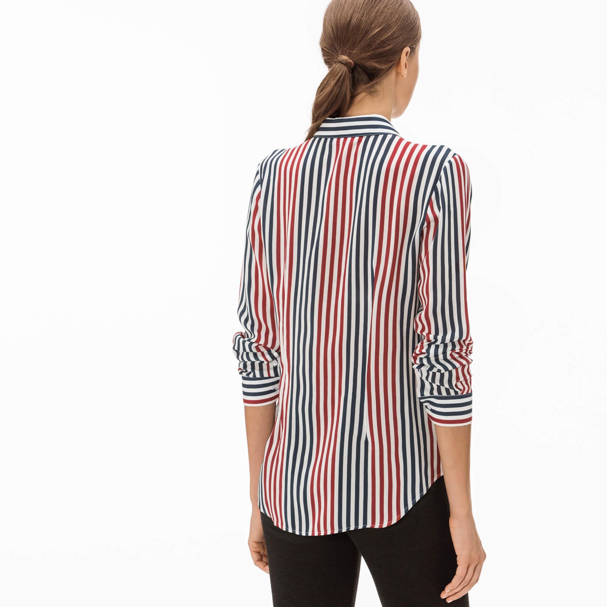 Lacoste Kadın Renk Bloklu Çizgili Gömlek