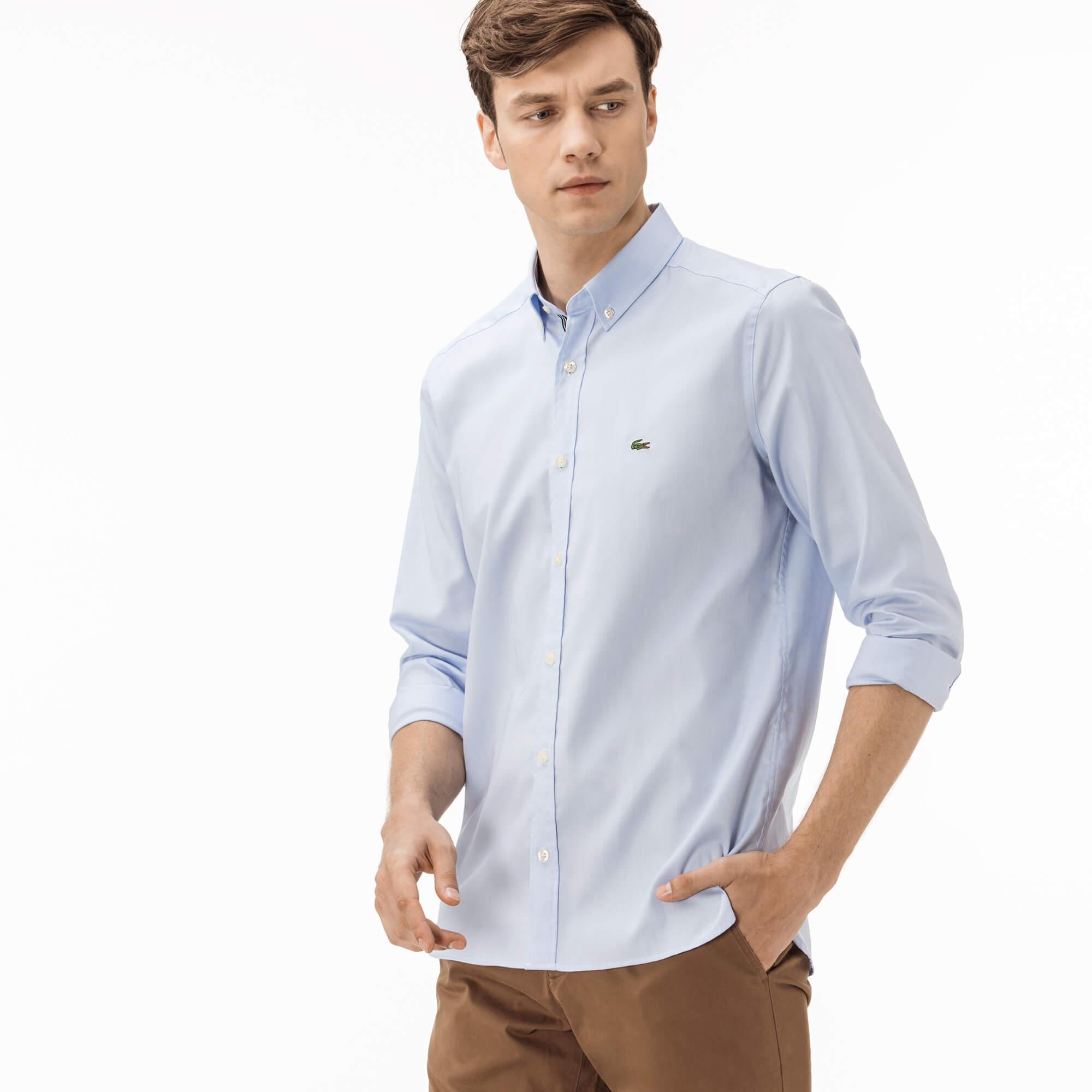 Lacoste Erkek Slim Fit Mavi Oxford Gömlek
