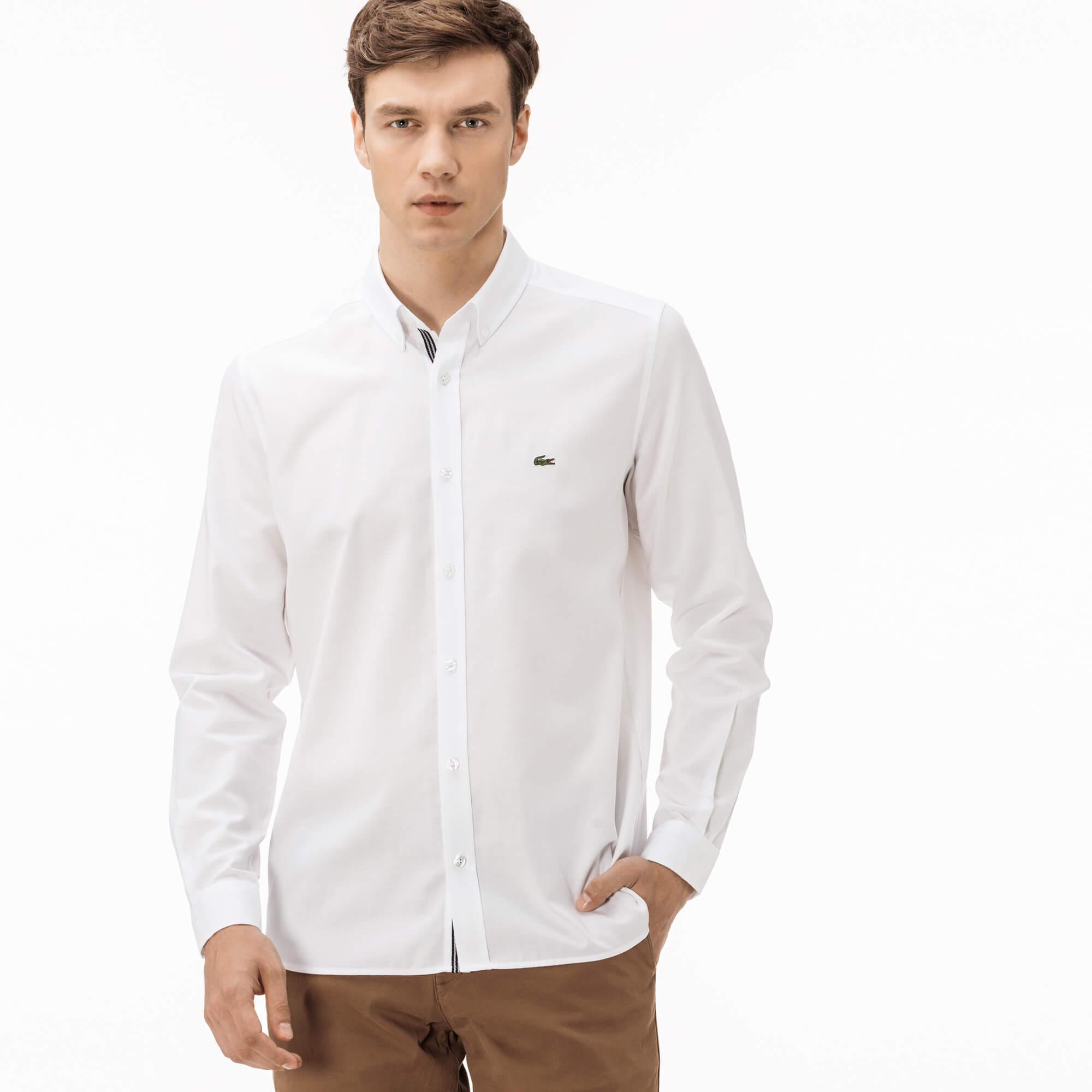 Lacoste Erkek Slim Fit Beyaz Oxford Gömlek