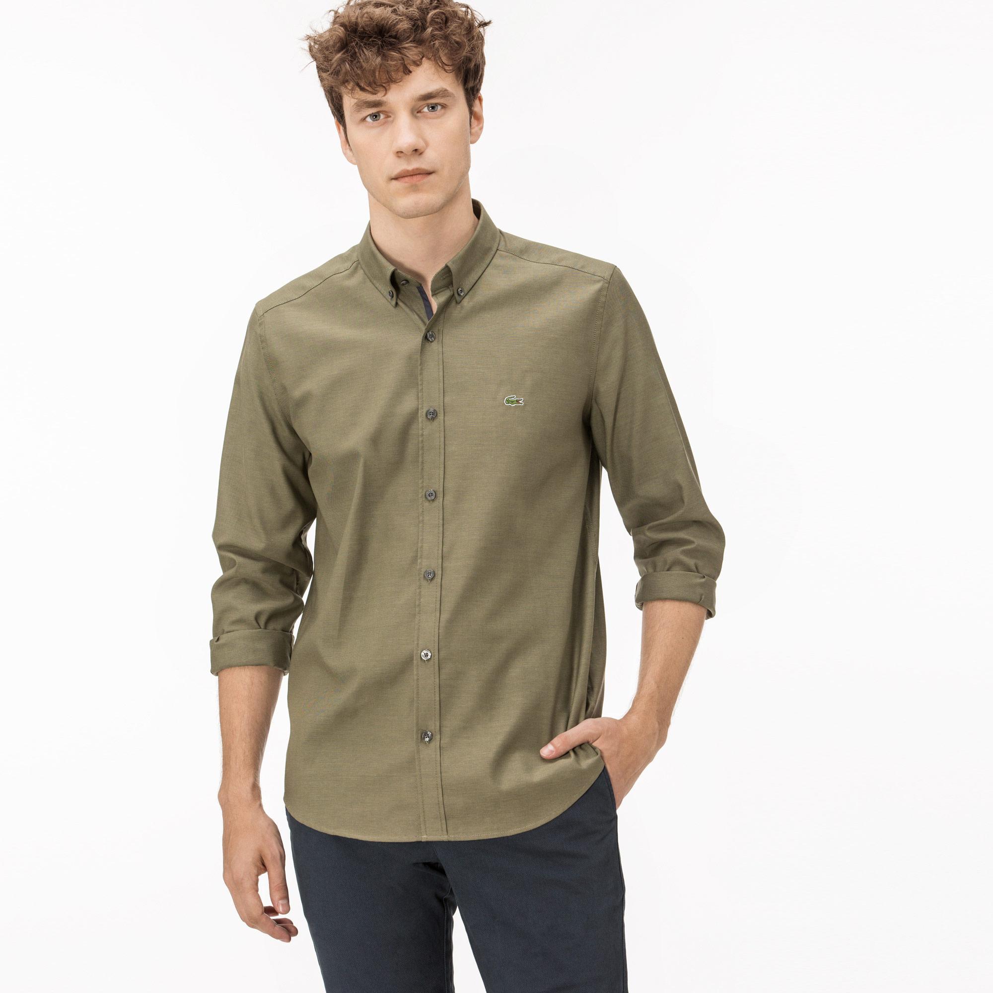 Lacoste Erkek Regular Fit Yeşil Oxford Gömlek