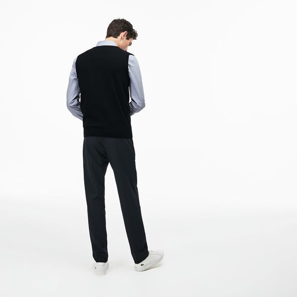 Lacoste Erkek V Yaka Kolsuz Siyah Triko Süveter