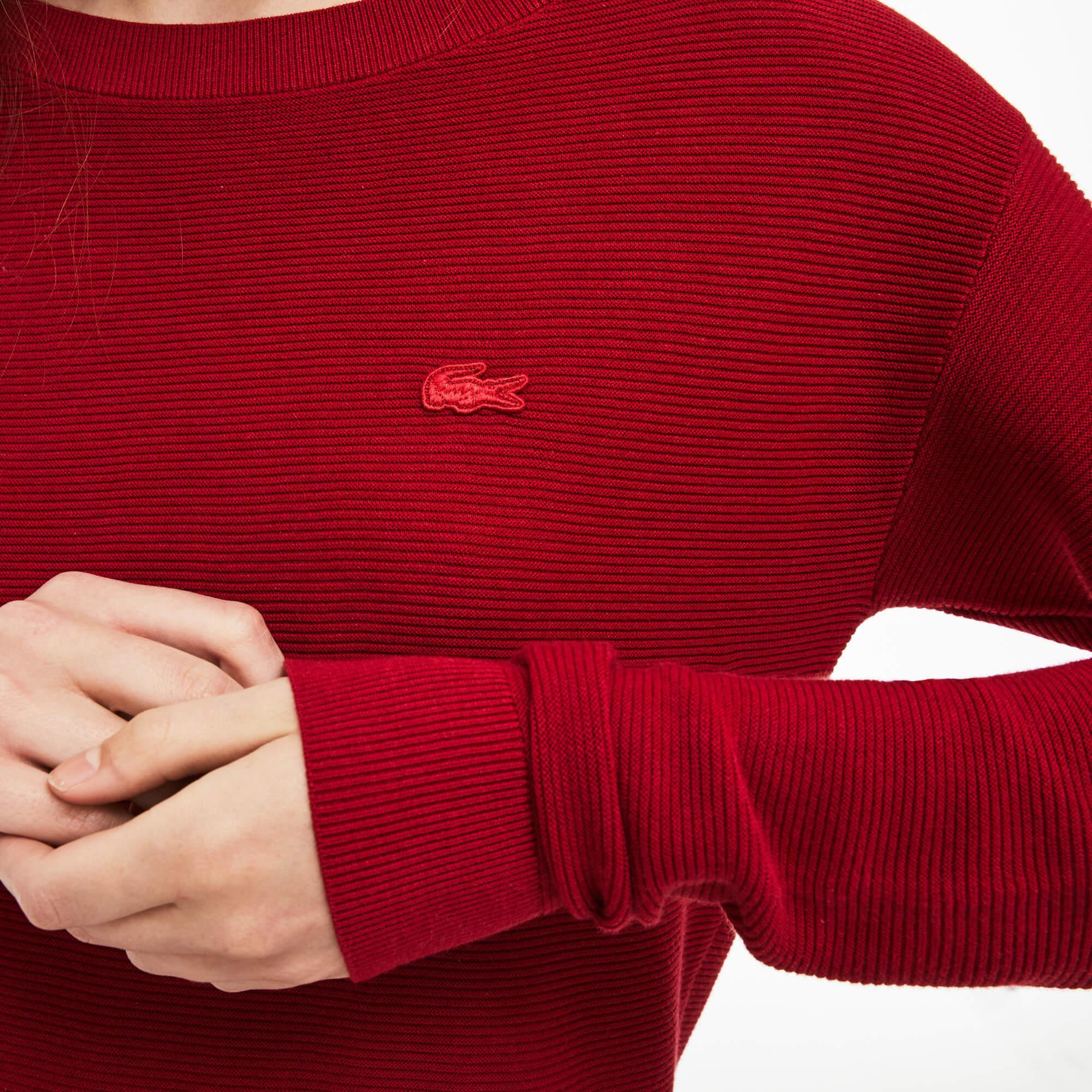 Lacoste Kadın Koyu Kırmızı Triko Kazak