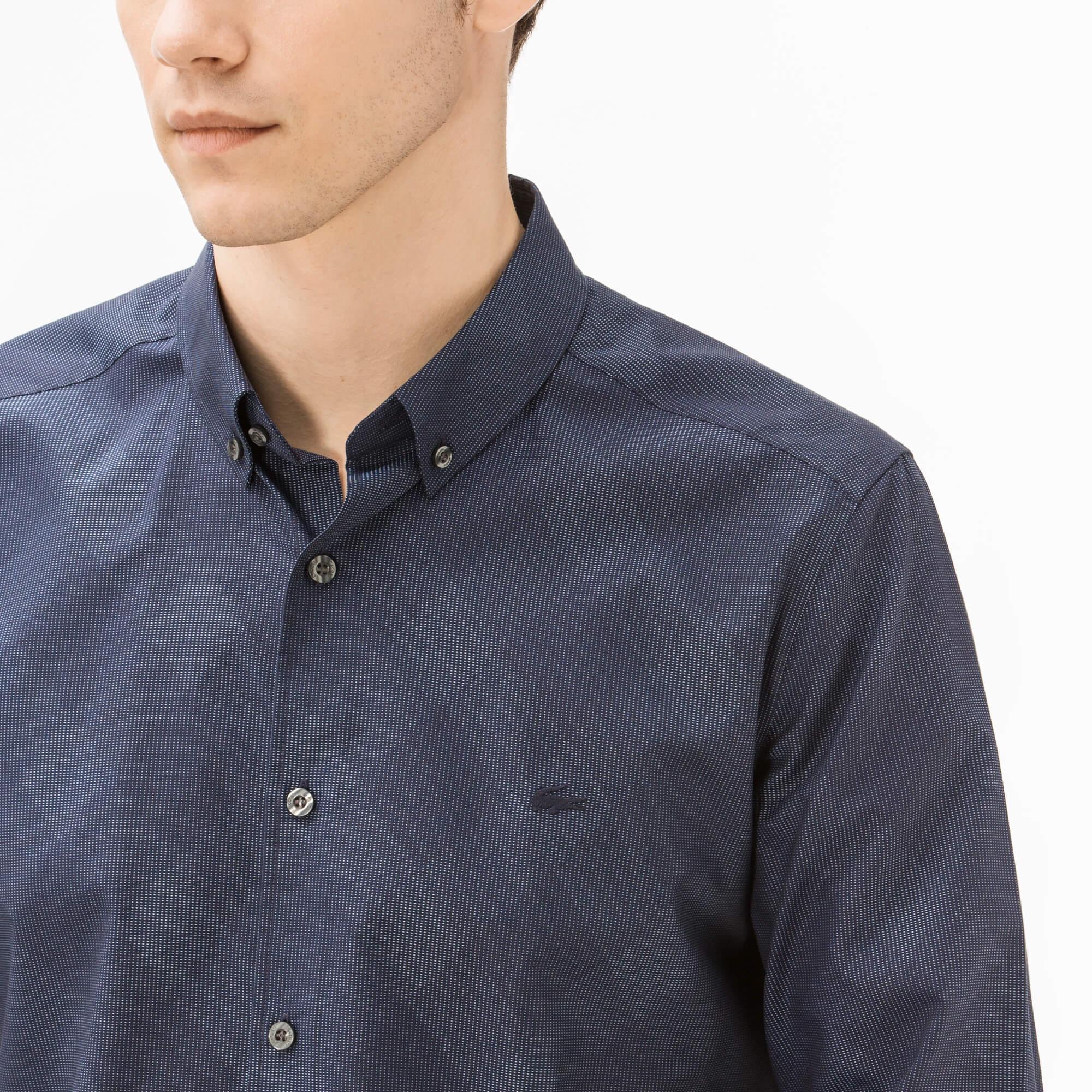 Lacoste Erkek Slim Fit Lacivert Ekose Gömlek