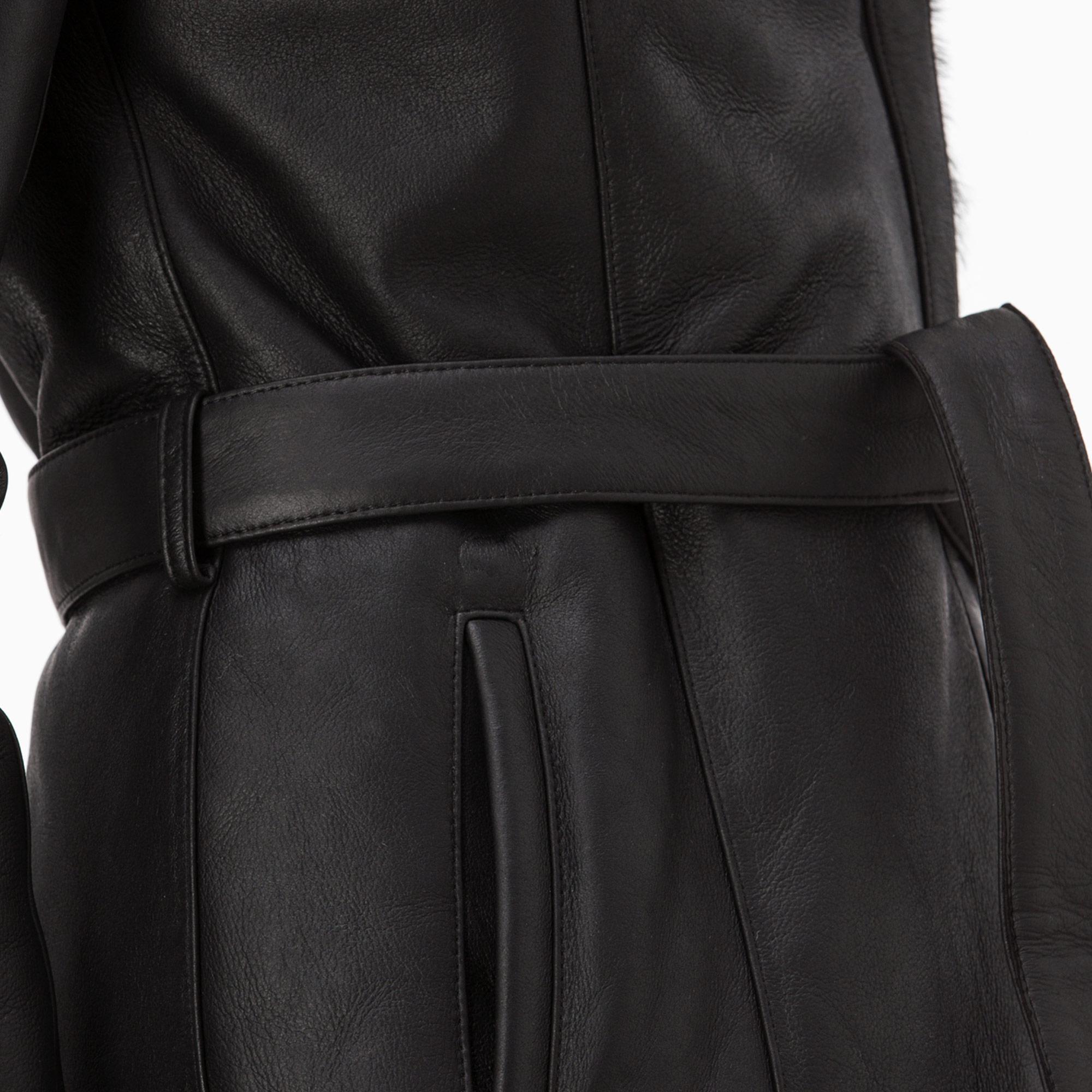 Lacoste Kadın Kürk Detaylı Siyah Deri Kaban
