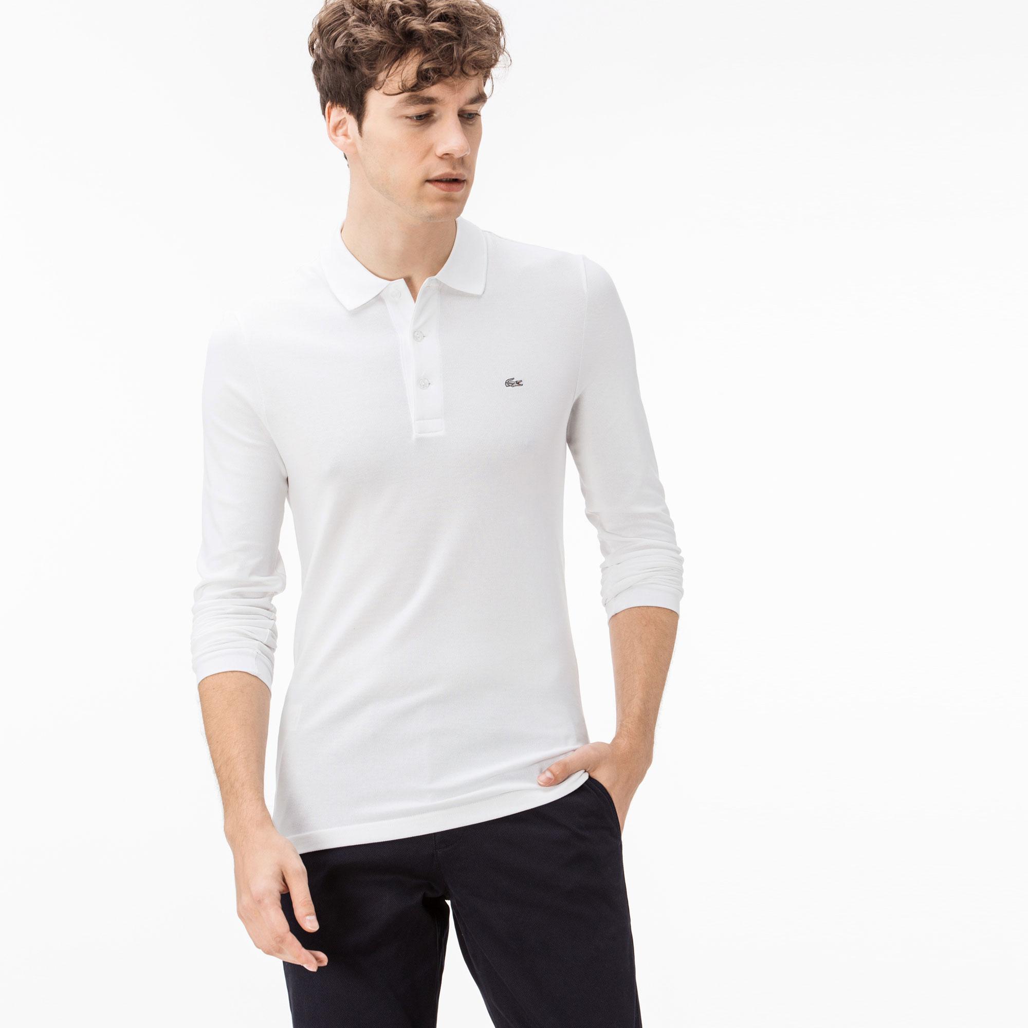 Lacoste Erkek Slim Fit Uzun Kollu Beyaz Polo