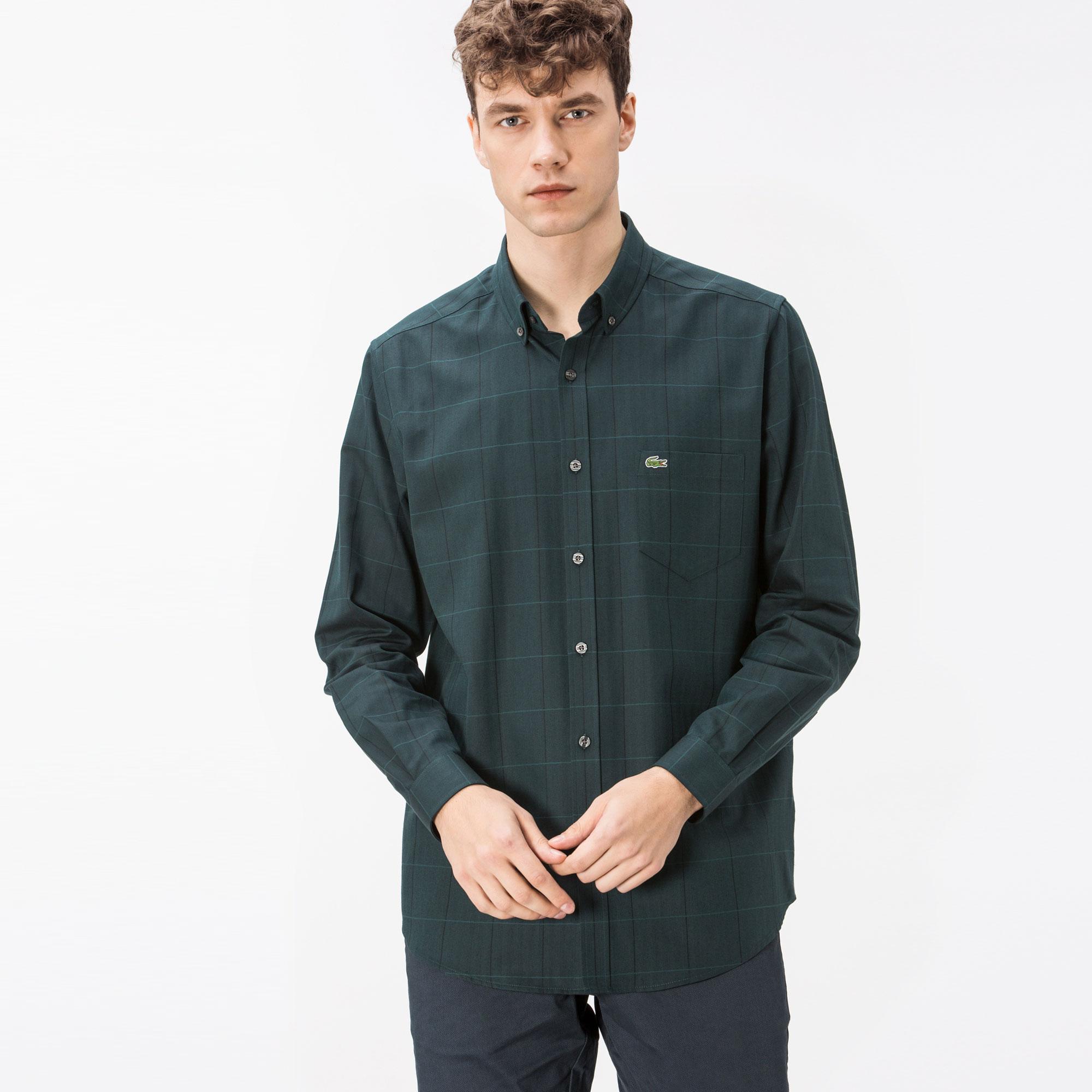 Lacoste Erkek Regular Fit Yeşil Ekose Gömlek
