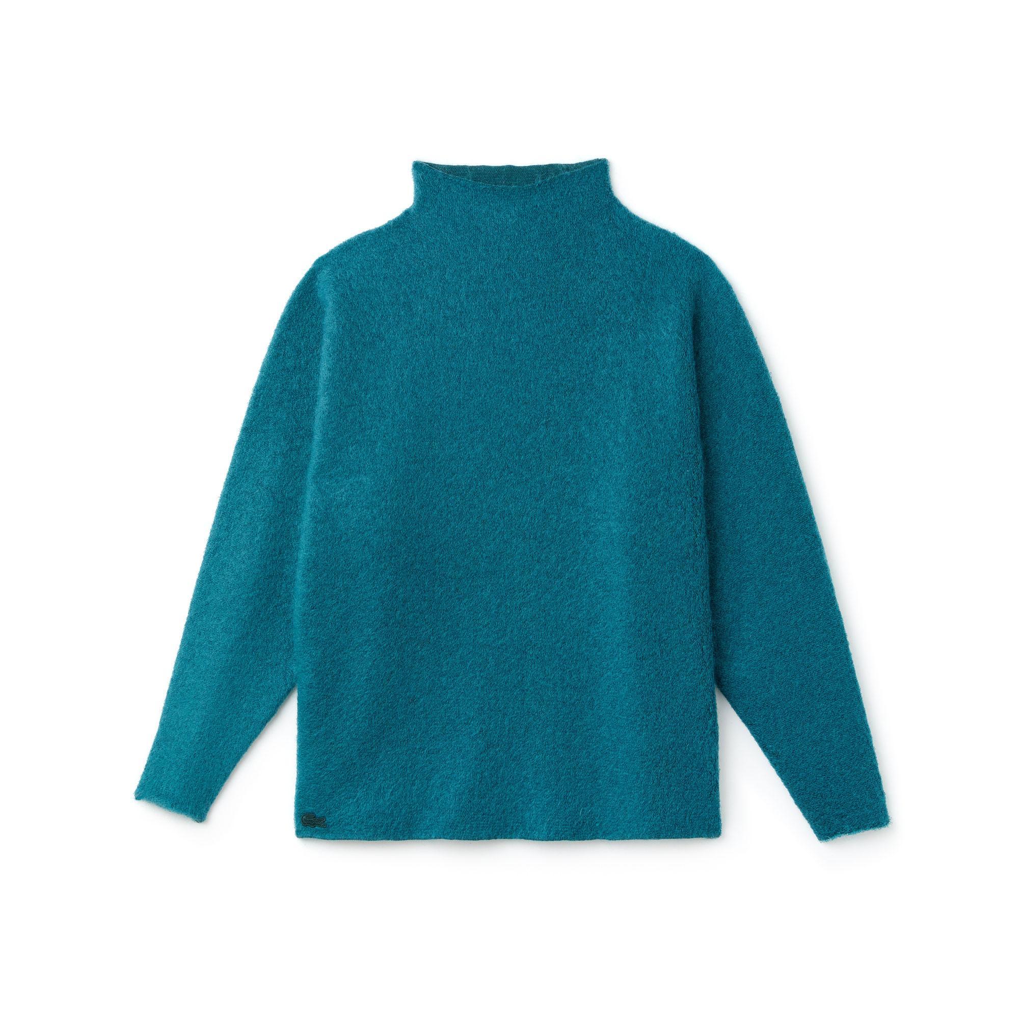 Lacoste Kadın Boğazlı Mavi Triko Kazak
