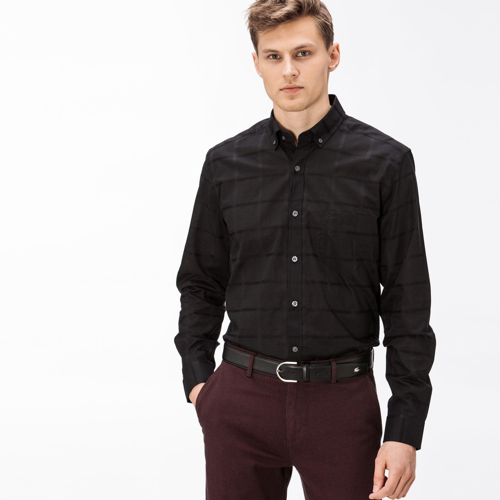 Lacoste Erkek Regular Fit Siyah Ekose Gömlek