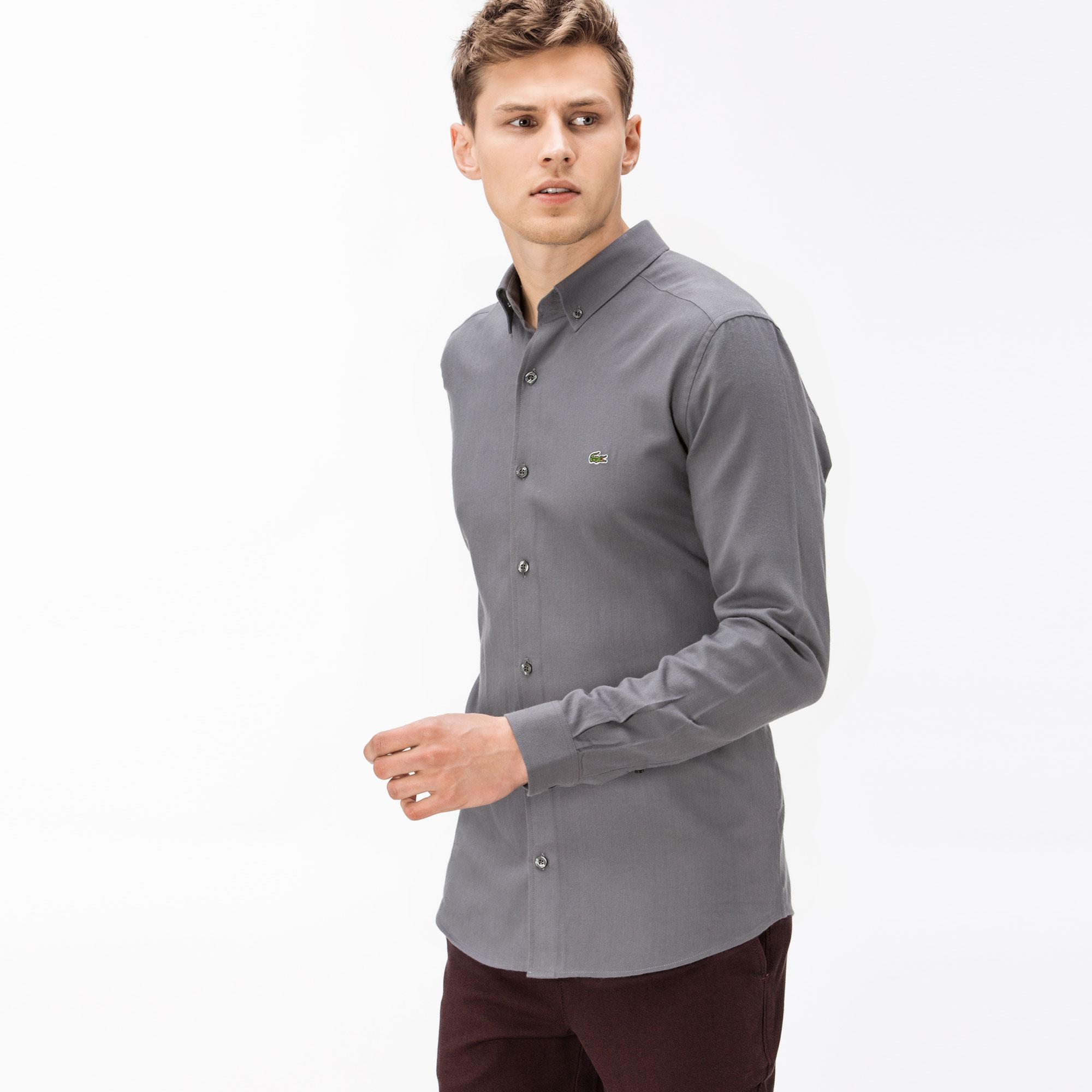 Lacoste Erkek Slim Fit Uzun Kollu Gri Gömlek