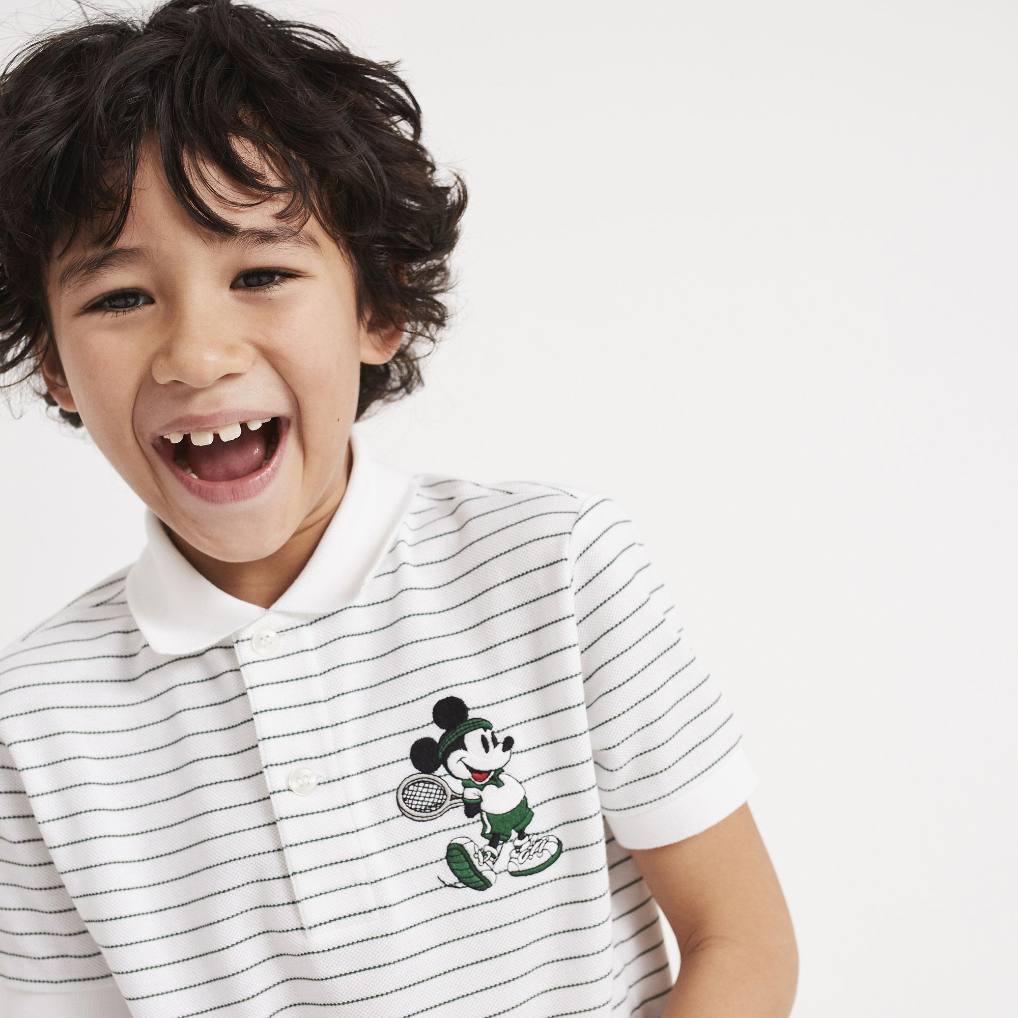 Lacoste X Disney Mickey İşlemeli Çocuk Beyaz Polo