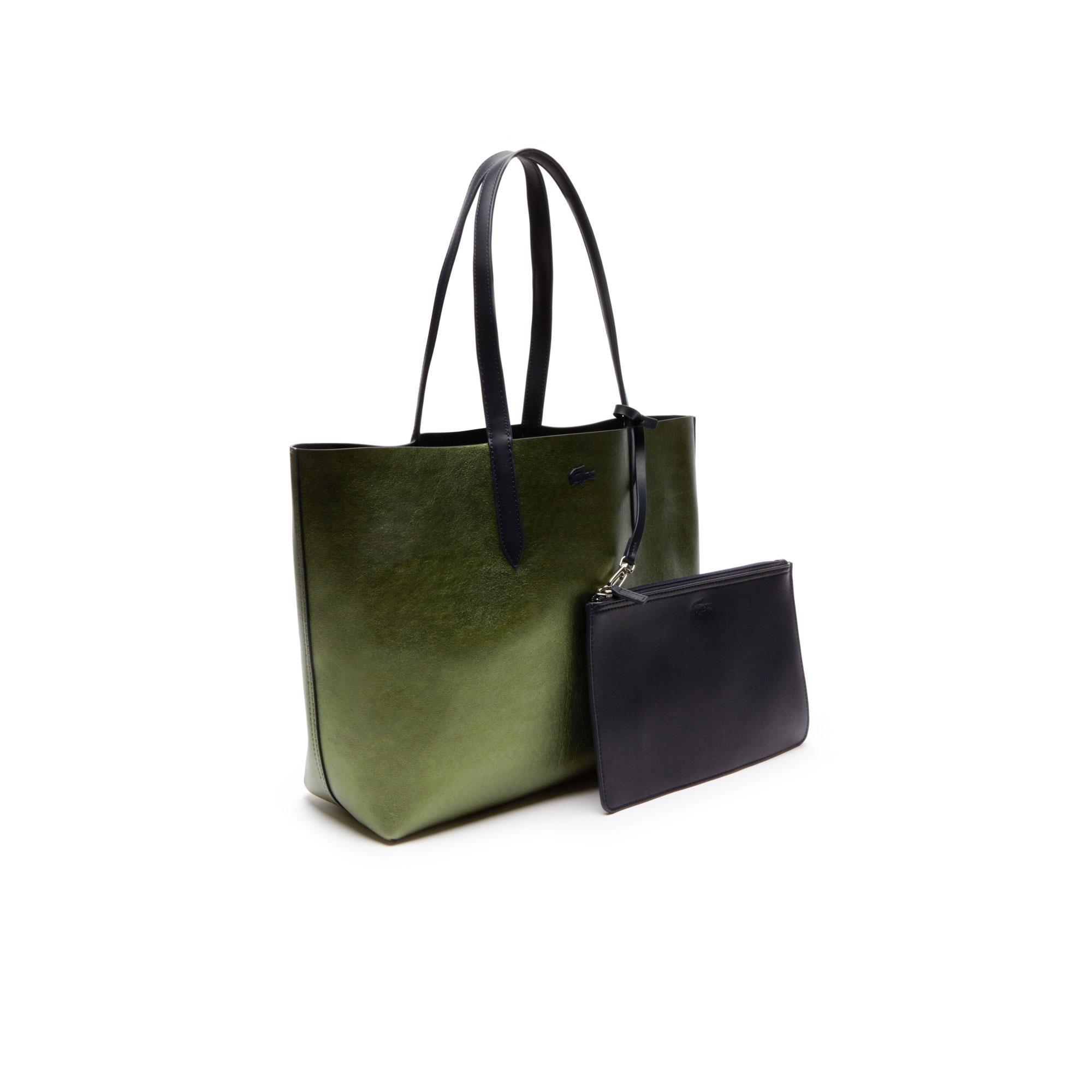 Lacoste Kadın Parlak Yeşil - Mat Lacivert Çift Taraflı Çanta