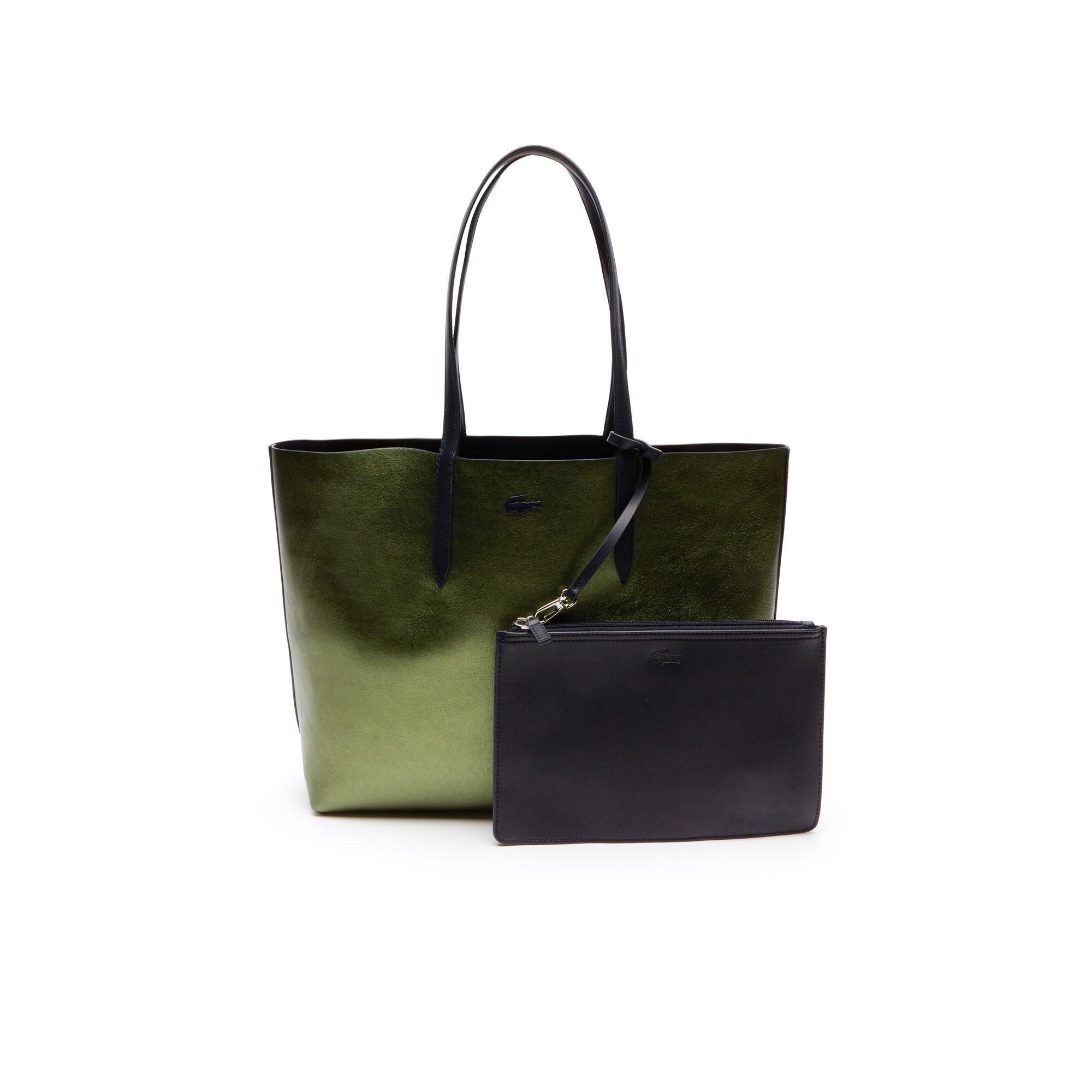 Lacoste Kadın Parlak Yeşil - Mat Siyah Çift Taraflı Çanta