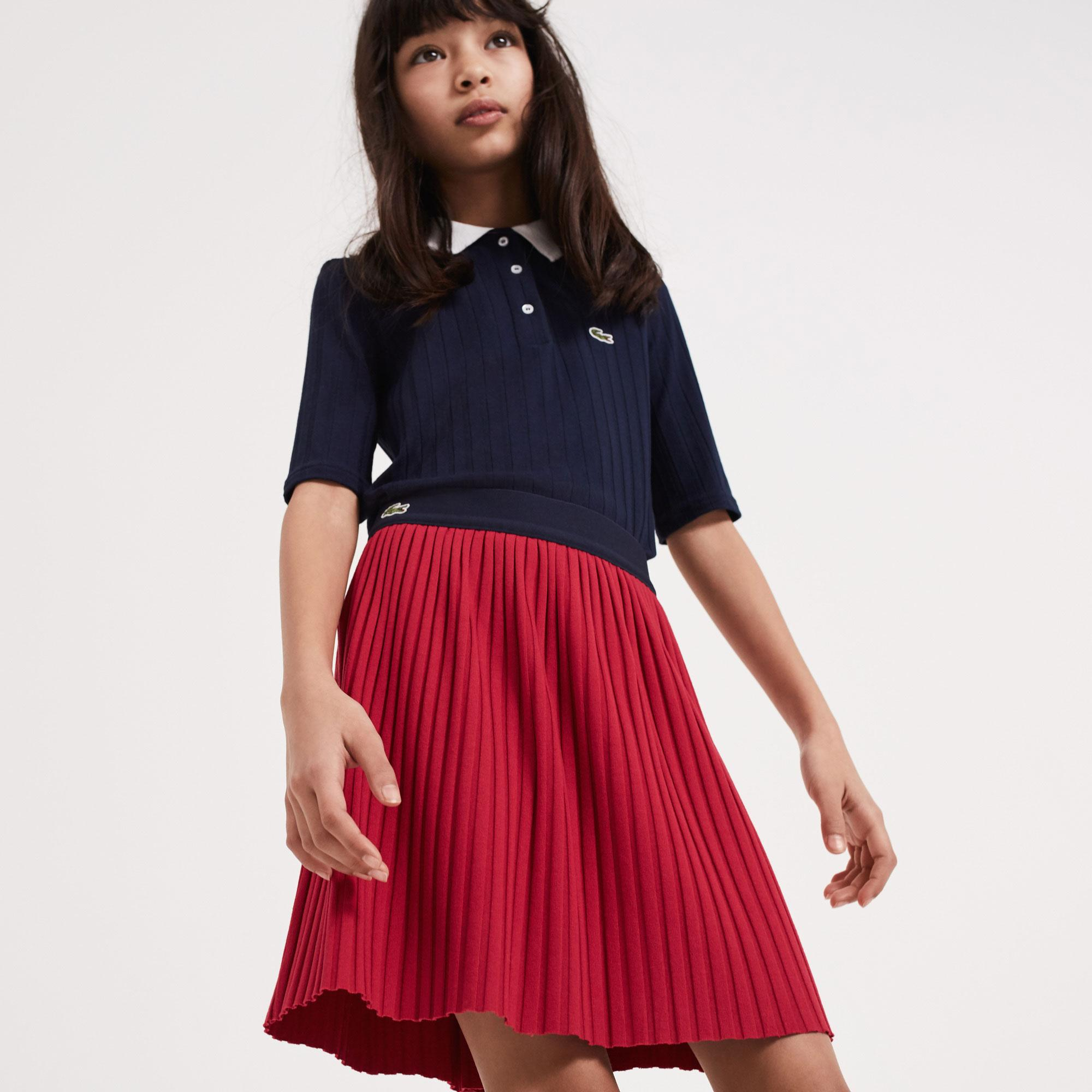 Lacoste Kız Çocuk Kırmızı Piliseli Etek