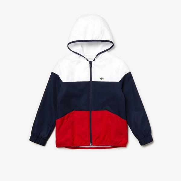 Lacoste Sport Çocuk Blok Desenli Kapüşonlu Beyaz-Lacivert Ceket