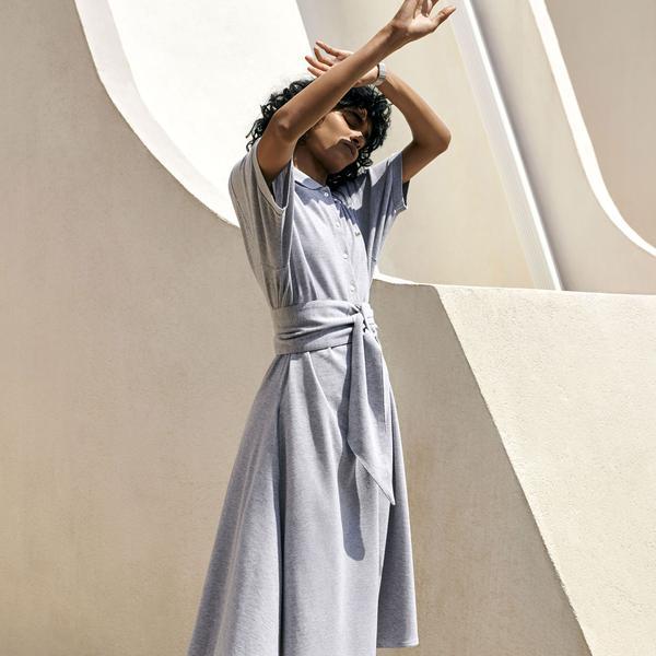 Lacoste Kadın Polo Yaka Gri Elbise