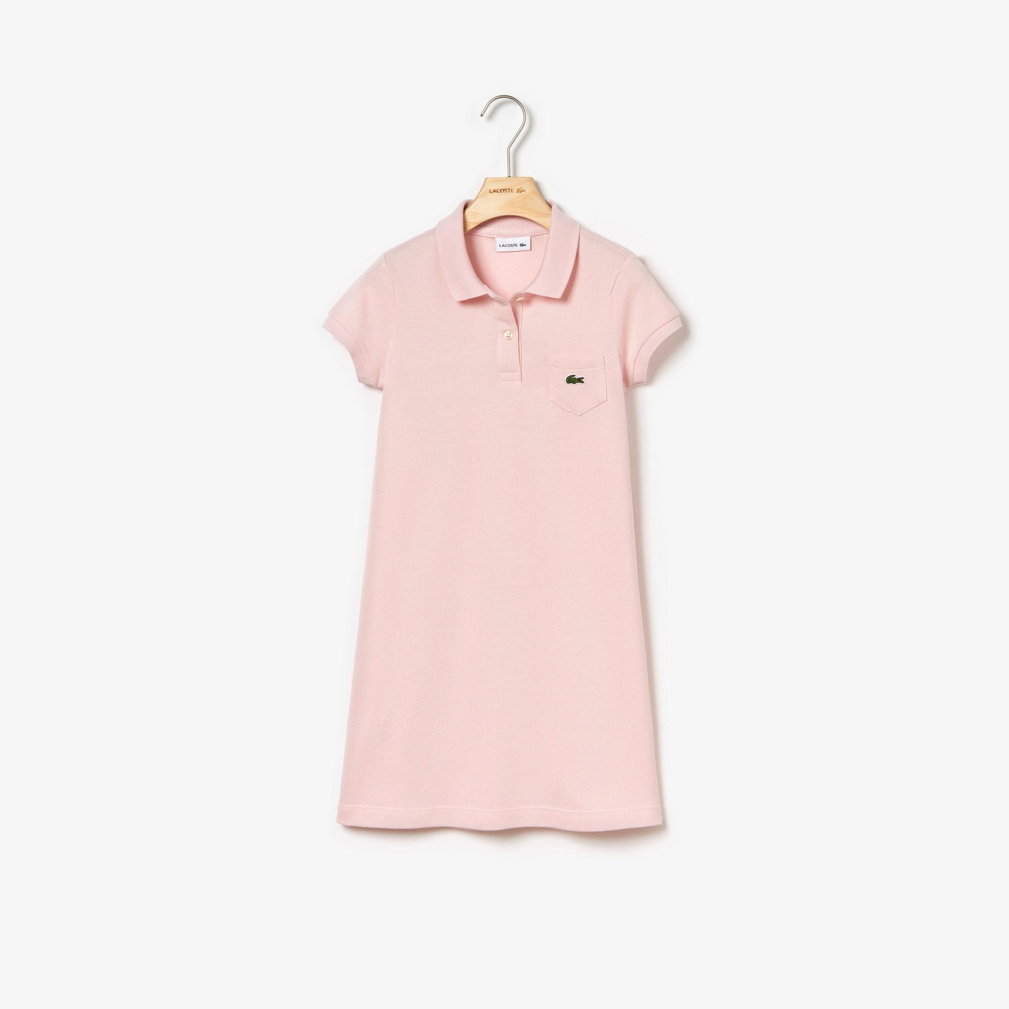 Lacoste Çocuk Polo Yaka Pembe Elbise
