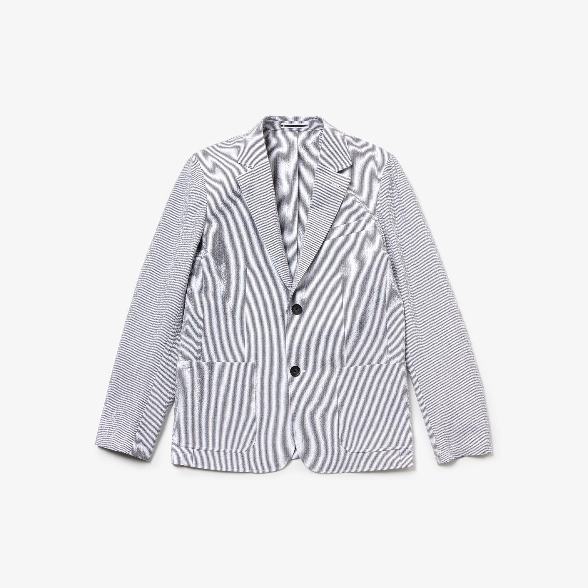 Lacoste Erkek Çizgili Açık Mavi Gofre Ceket