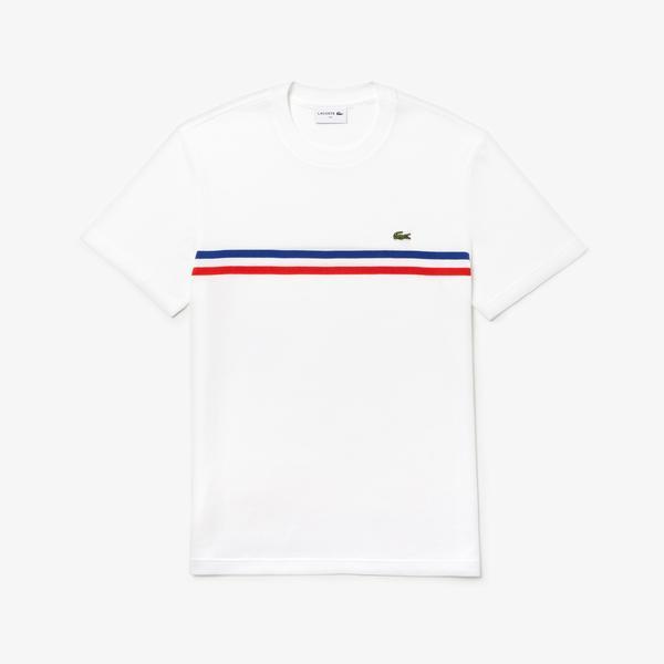 Lacoste Erkek Çizgili Beyaz T-Shirt