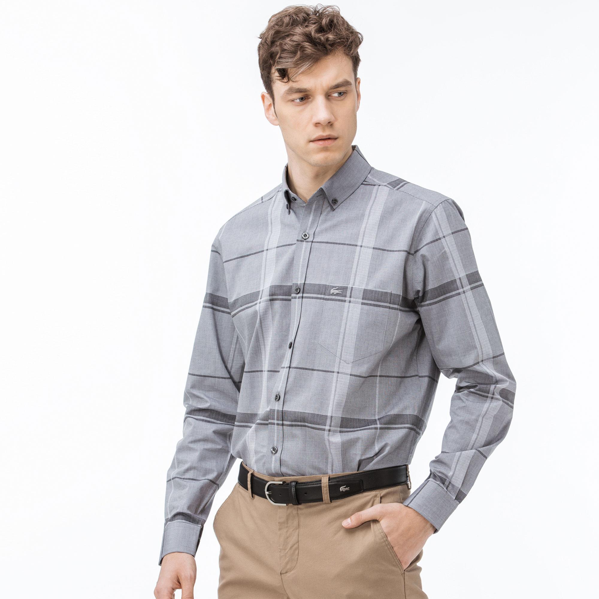 Lacoste Erkek Regular Fit Ekose Siyah-Gri Gömlek