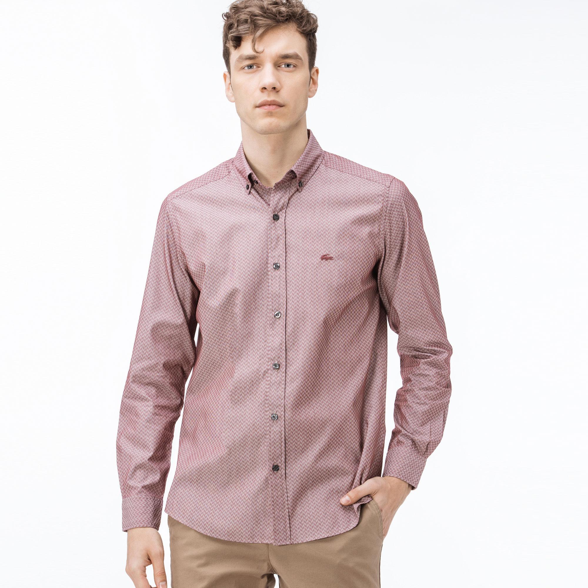 Lacoste Erkek Slim Fit Bordo Gömlek