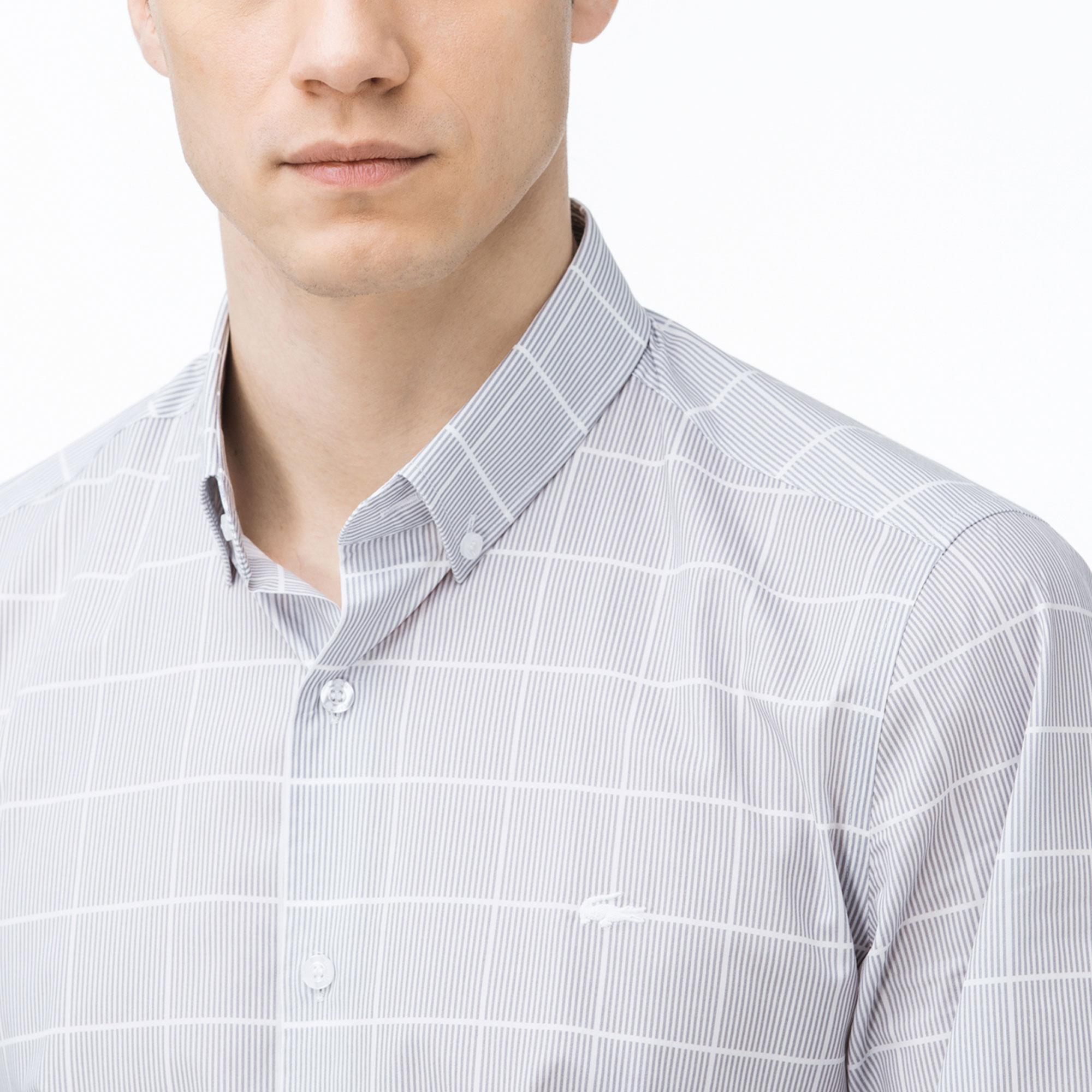 Lacoste Erkek Slim Fit Desenli Gri Gömlek