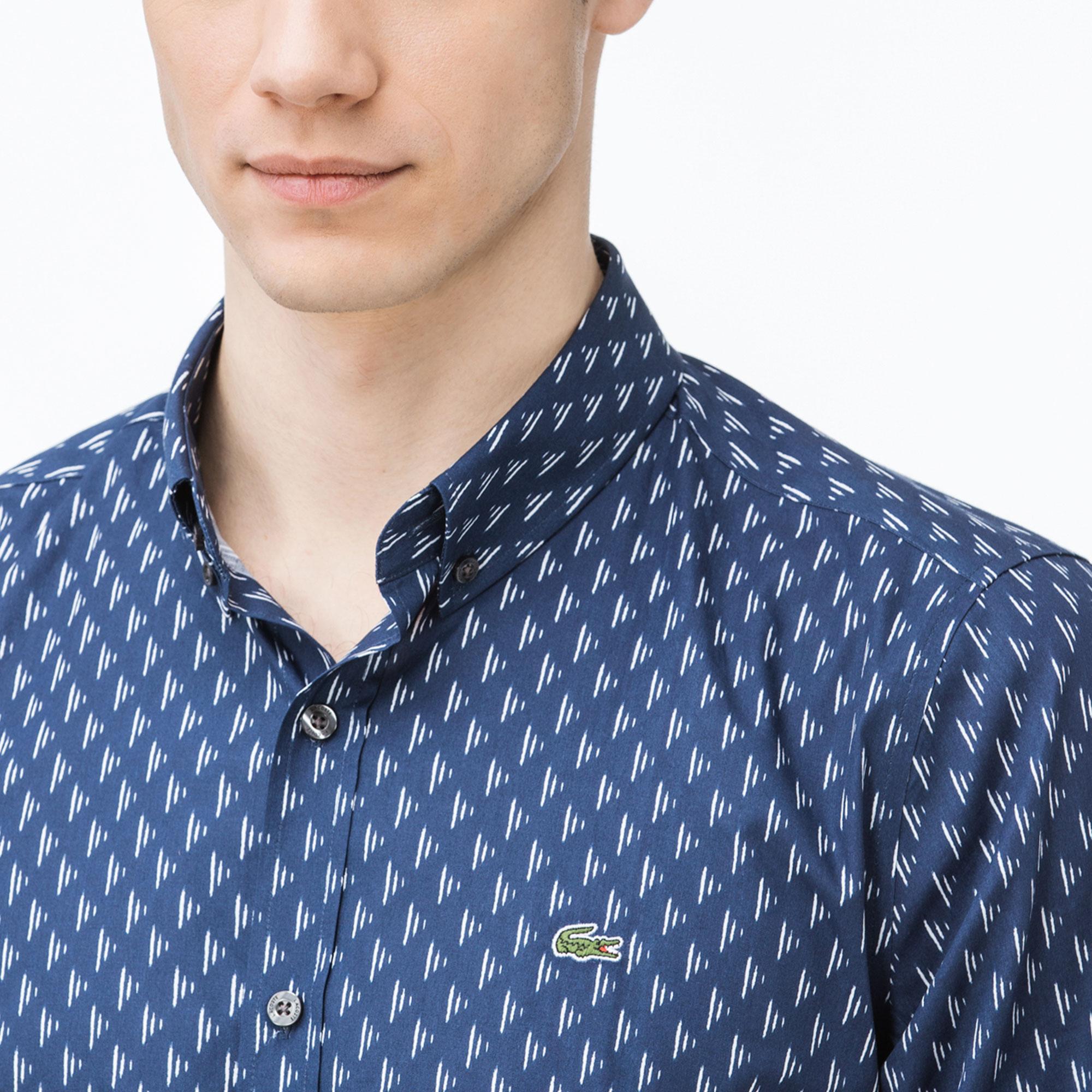 Lacoste Erkek Slim Fit Desenli Lacivert Gömlek