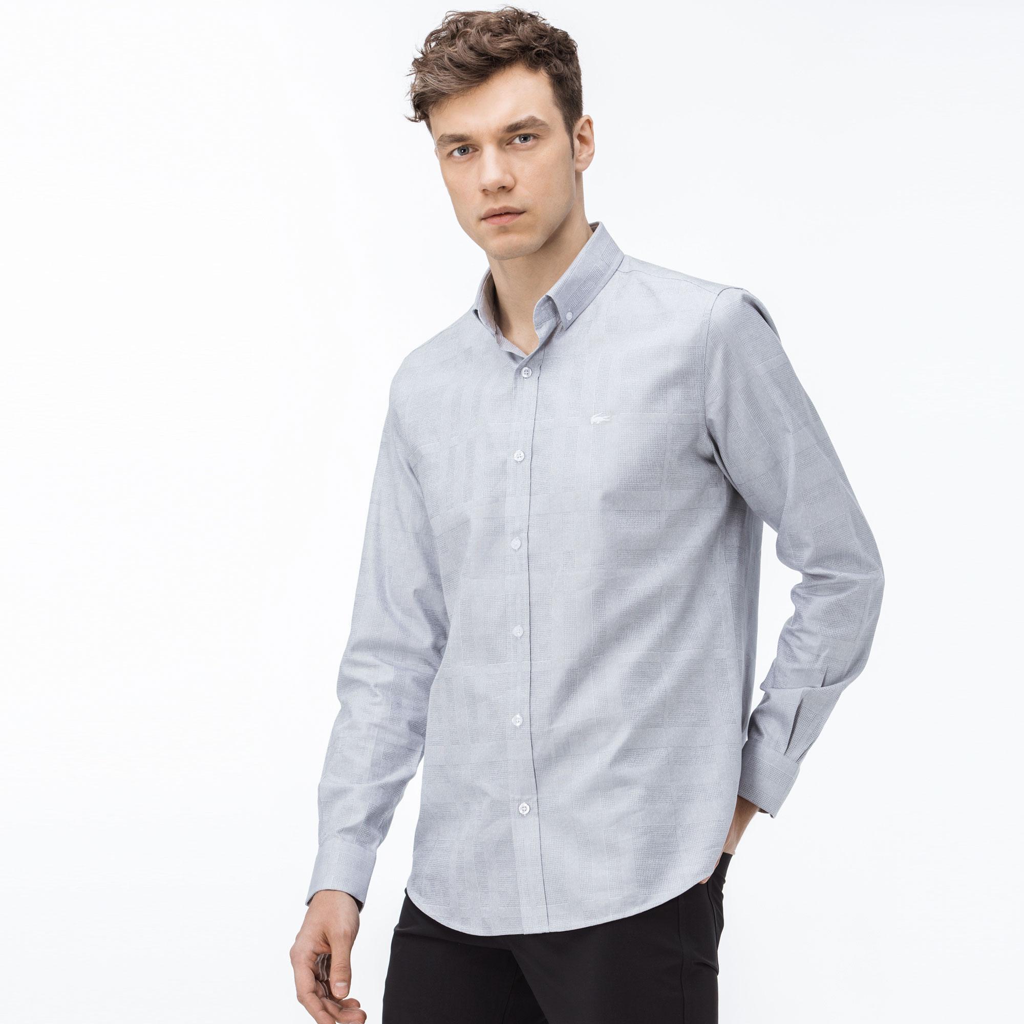 Lacoste Erkek Slim Fit Ekose Açık Mavi Gömlek