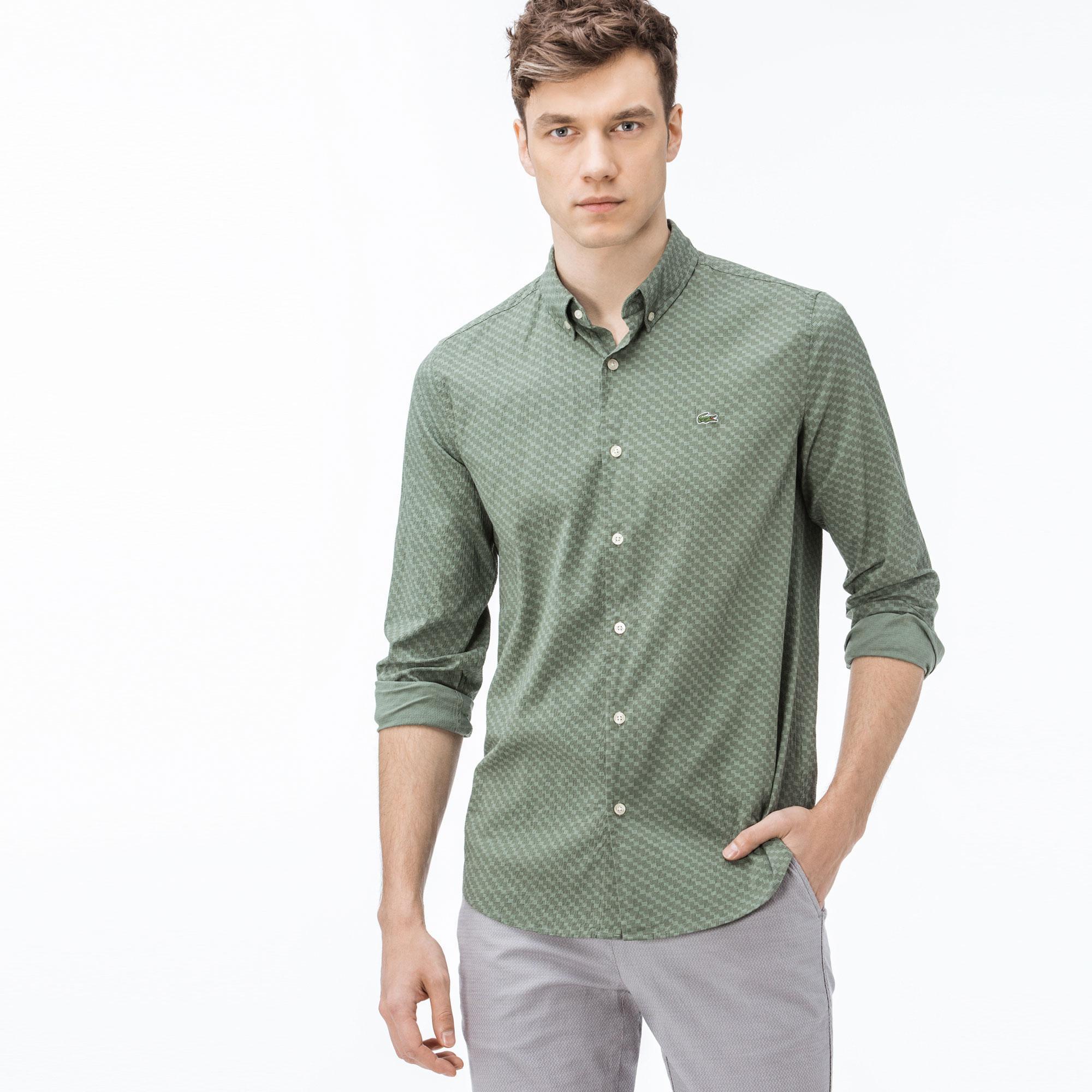 Lacoste Erkek Slim Fit Desenli Yeşil Gömlek