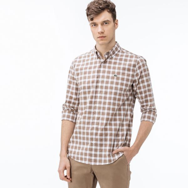 Lacoste Erkek Slim Fit Ekose Kahverengi-Beyaz Gömlek