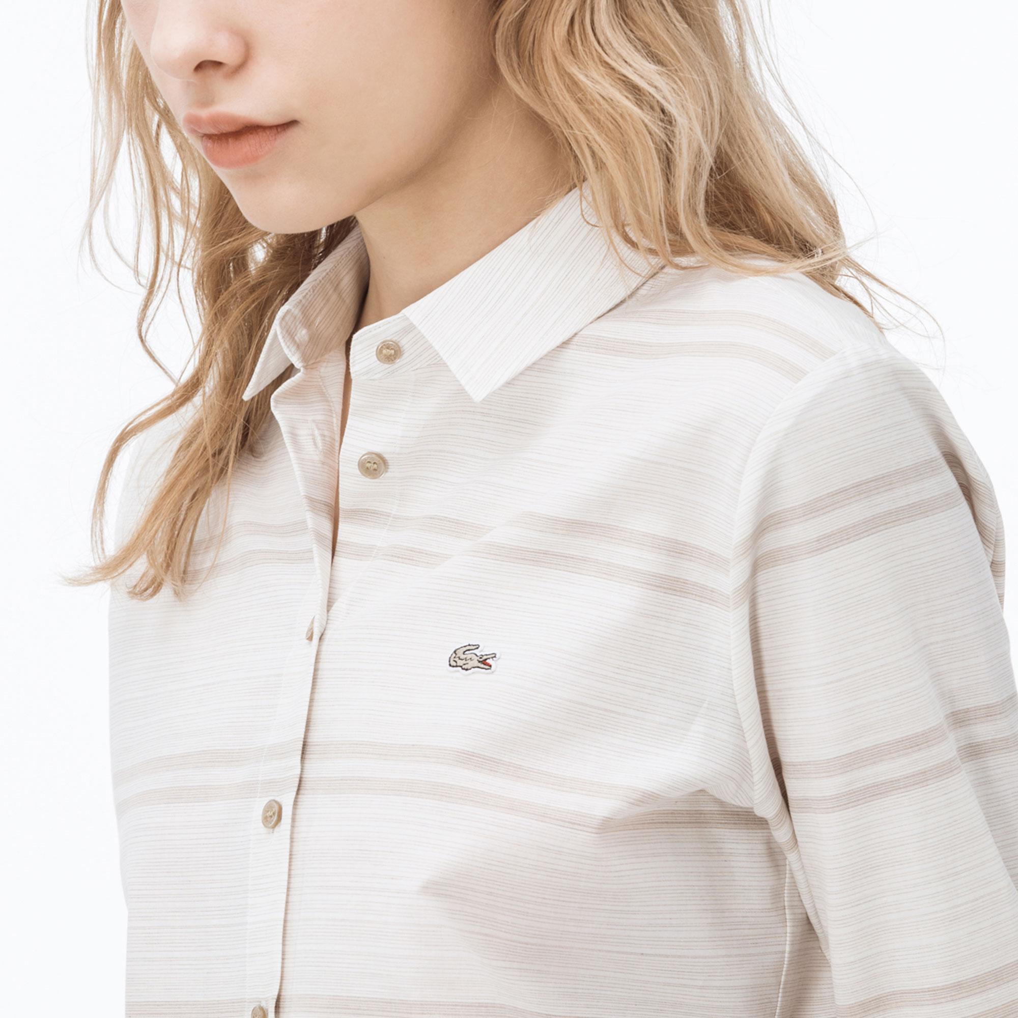 Lacoste Kadın Kahverengi Çizgili Ekru Gömlek