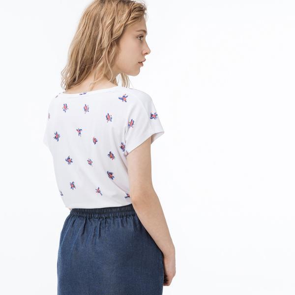 Lacoste Kadın Desenli Beyaz T-Shirt