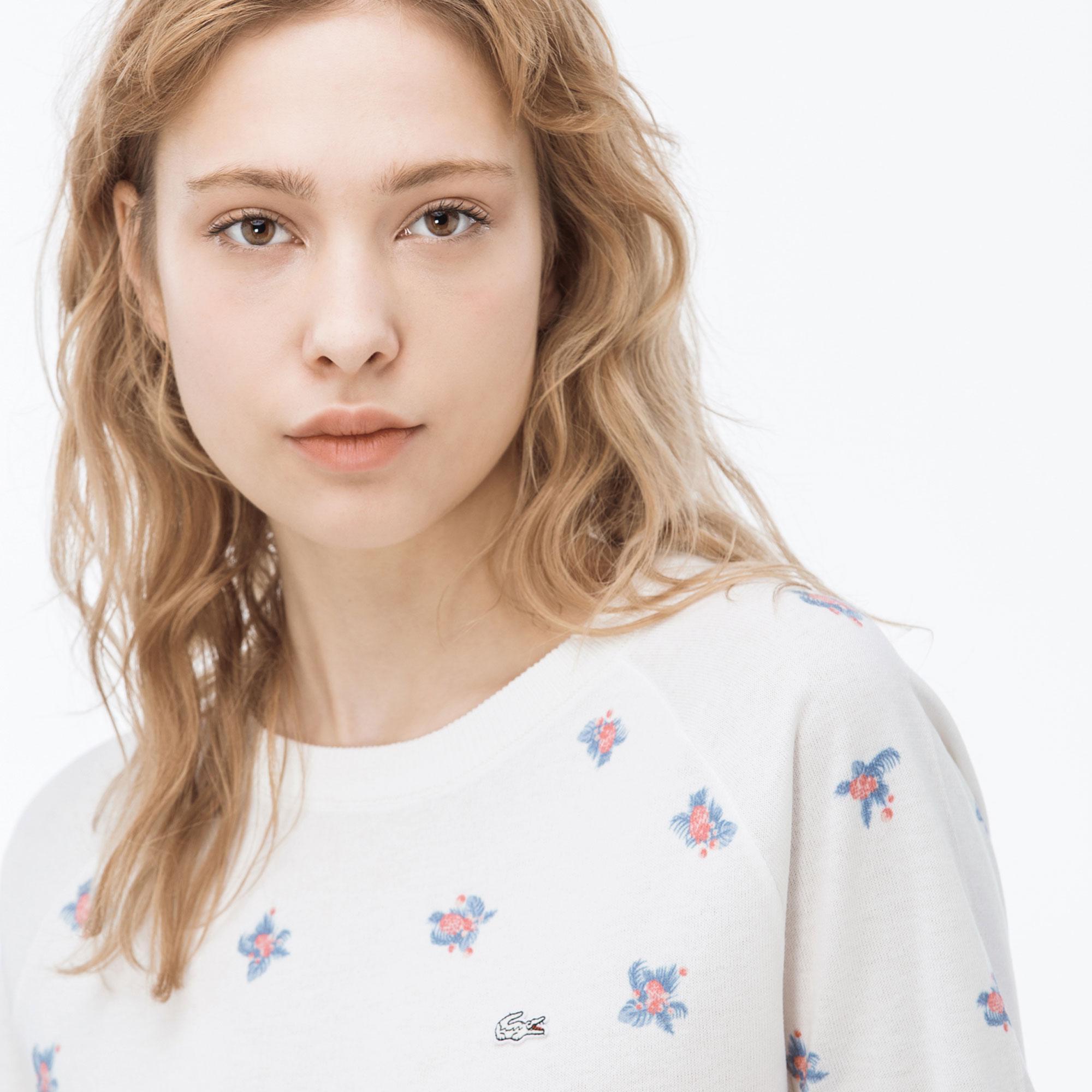 Lacoste Kadın Desenli Beyaz Triko