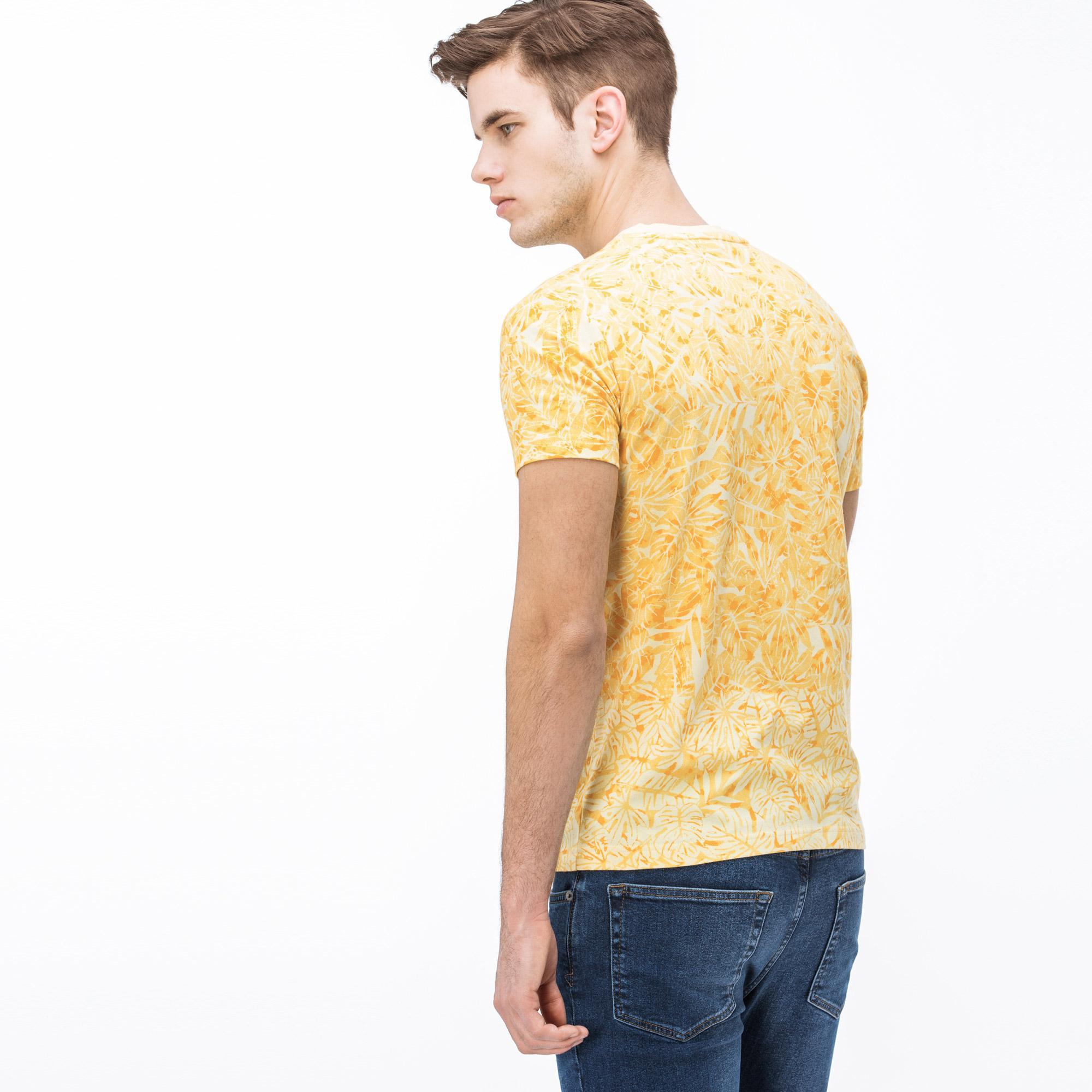 Lacoste Erkek V Yaka Desenli Sarı T-Shirt