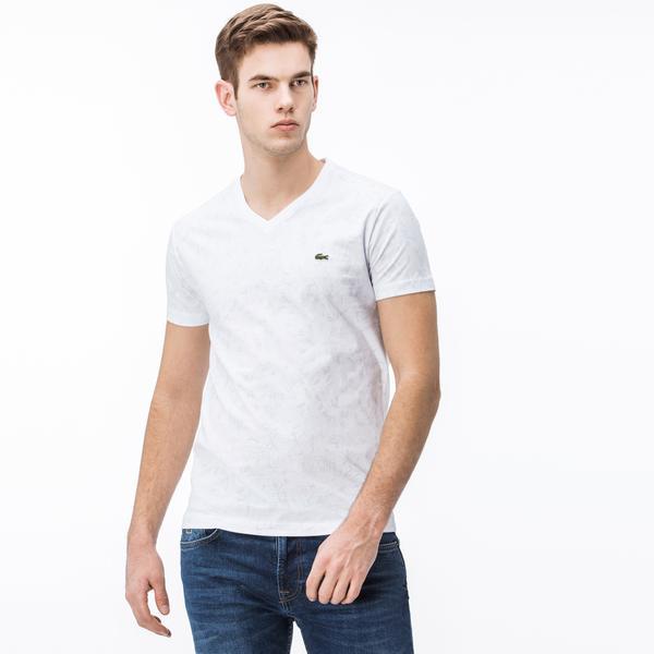 Lacoste Erkek V Yaka Beyaz T-Shirt