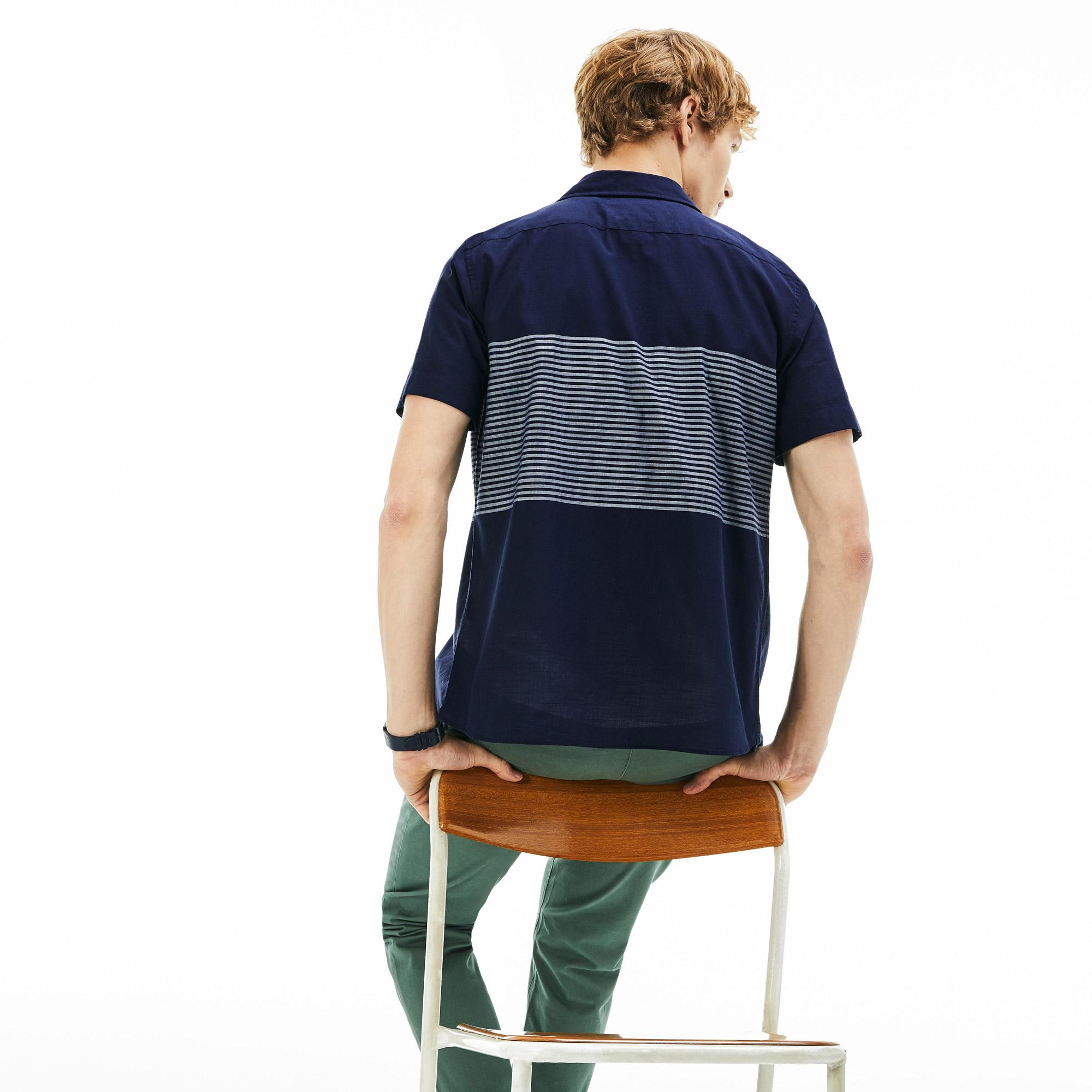 Lacoste Erkek Slim Fit Beyaz - Lacivert Kısa Kollu Gömlek