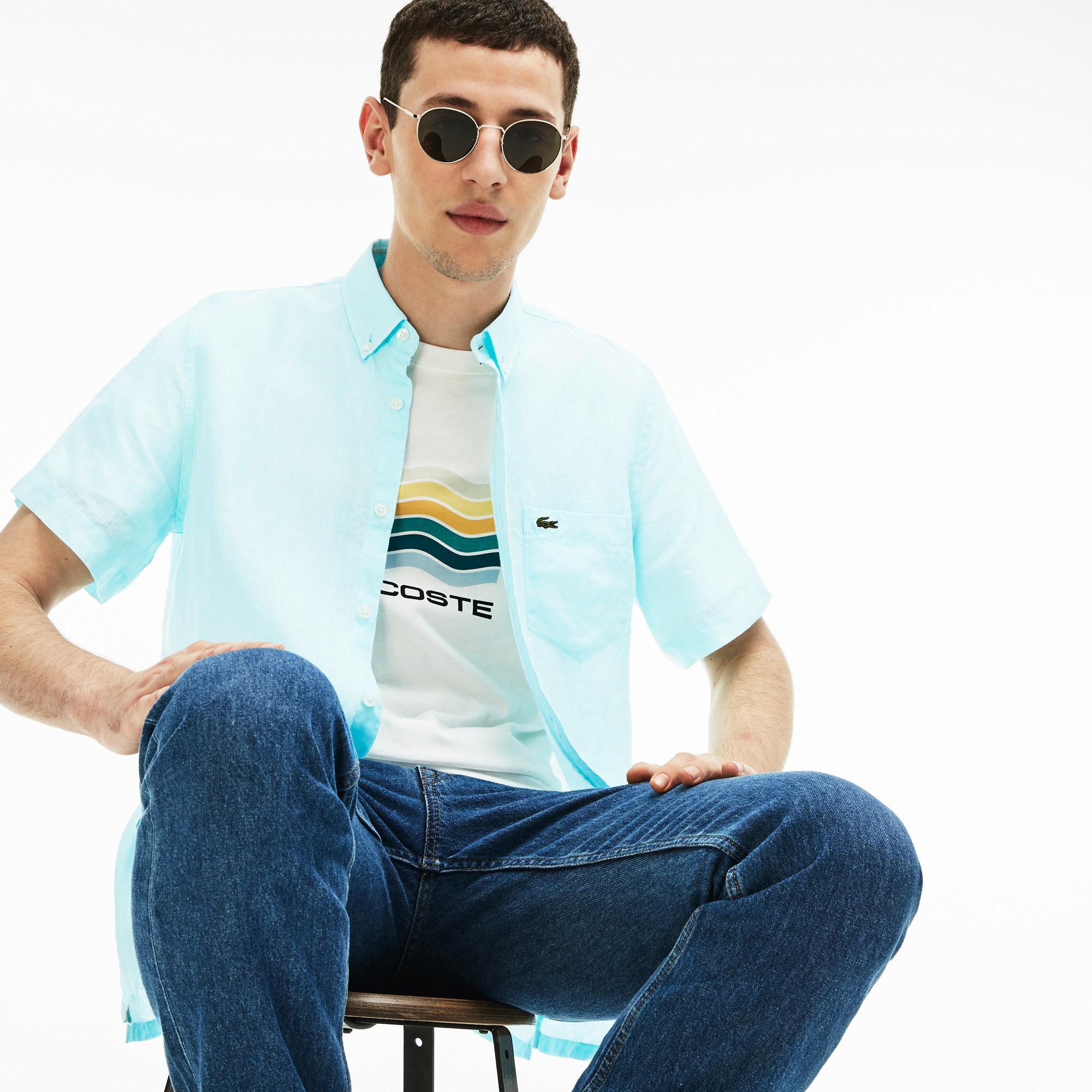 Lacoste Erkek Regular Fit Keten Açık Mavi Kısa Kollu Gömlek