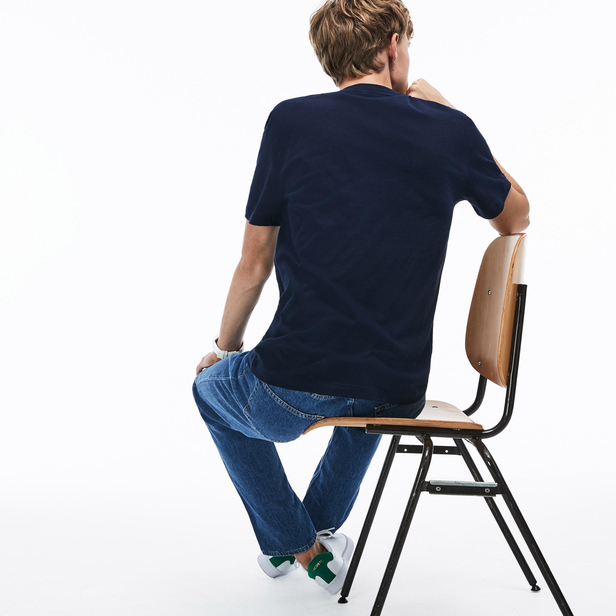 Lacoste Erkek Timsah Baskılı Lacivert T-Shirt